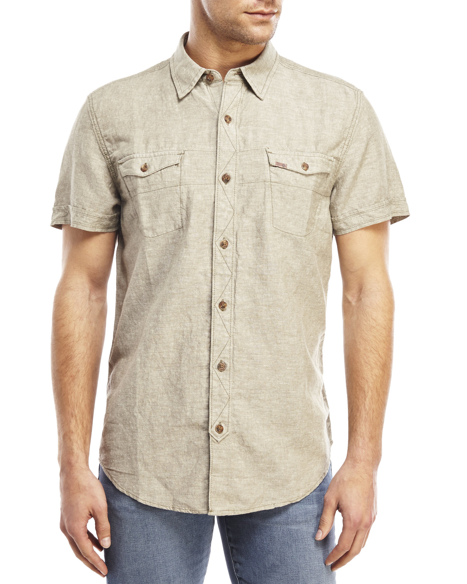 timberland two pocket short sleeve linen shirt in natural