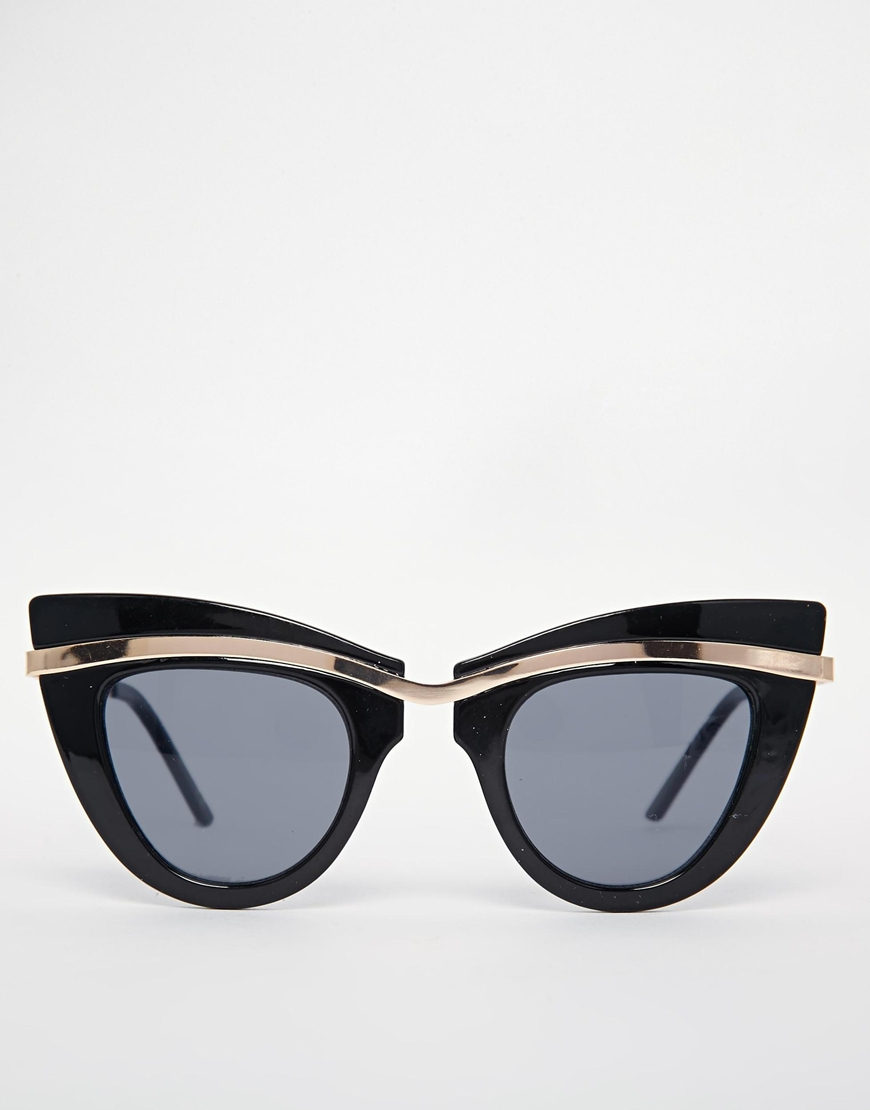d7e1edcab3 Lyst - ASOS Metal Top Cat Eye Sunglasses With Built Up Highbrow in Black