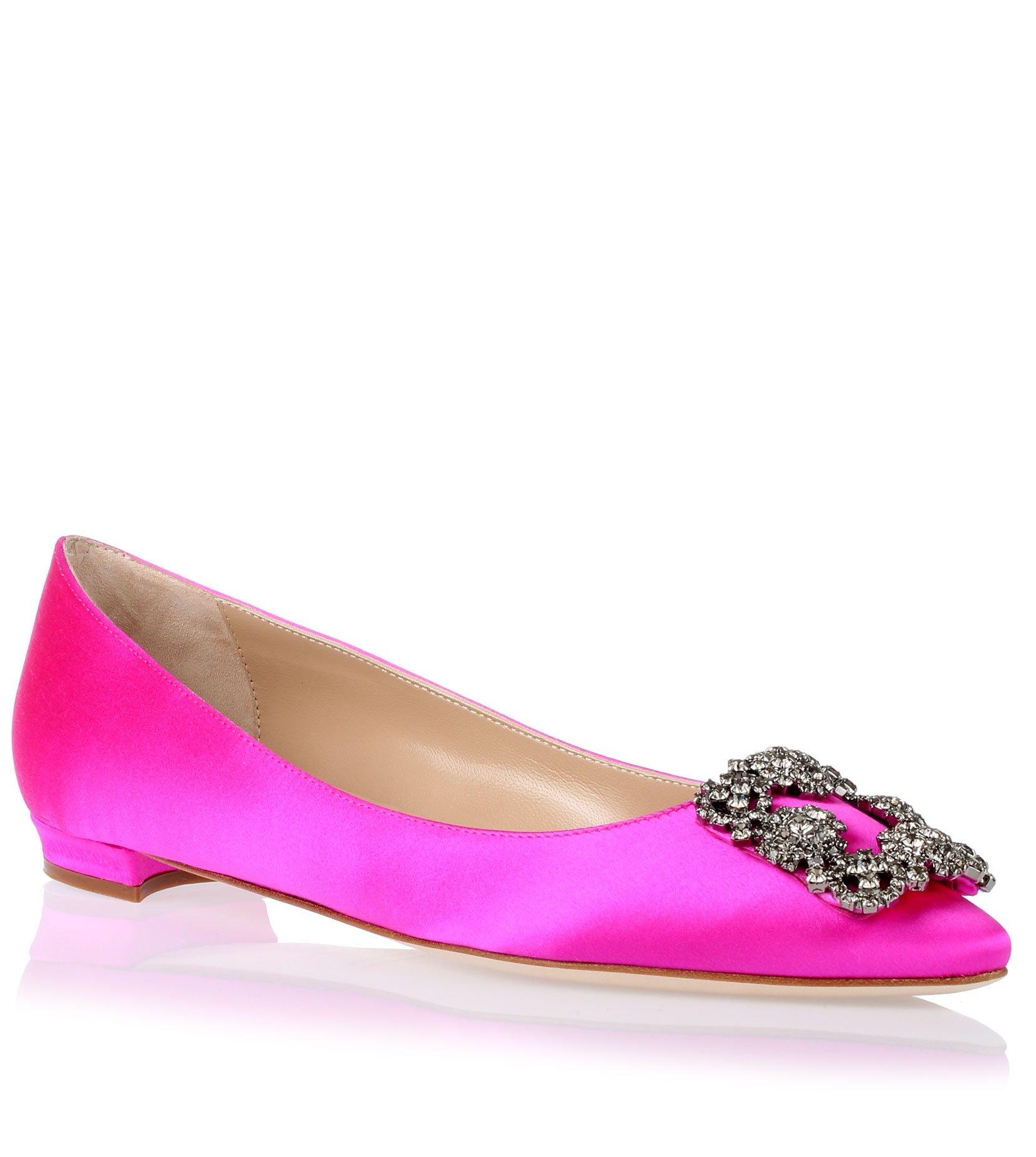 Manolo blahnik flat hangisi satin hot pink in pink lyst for Shoe designer manolo blahnik