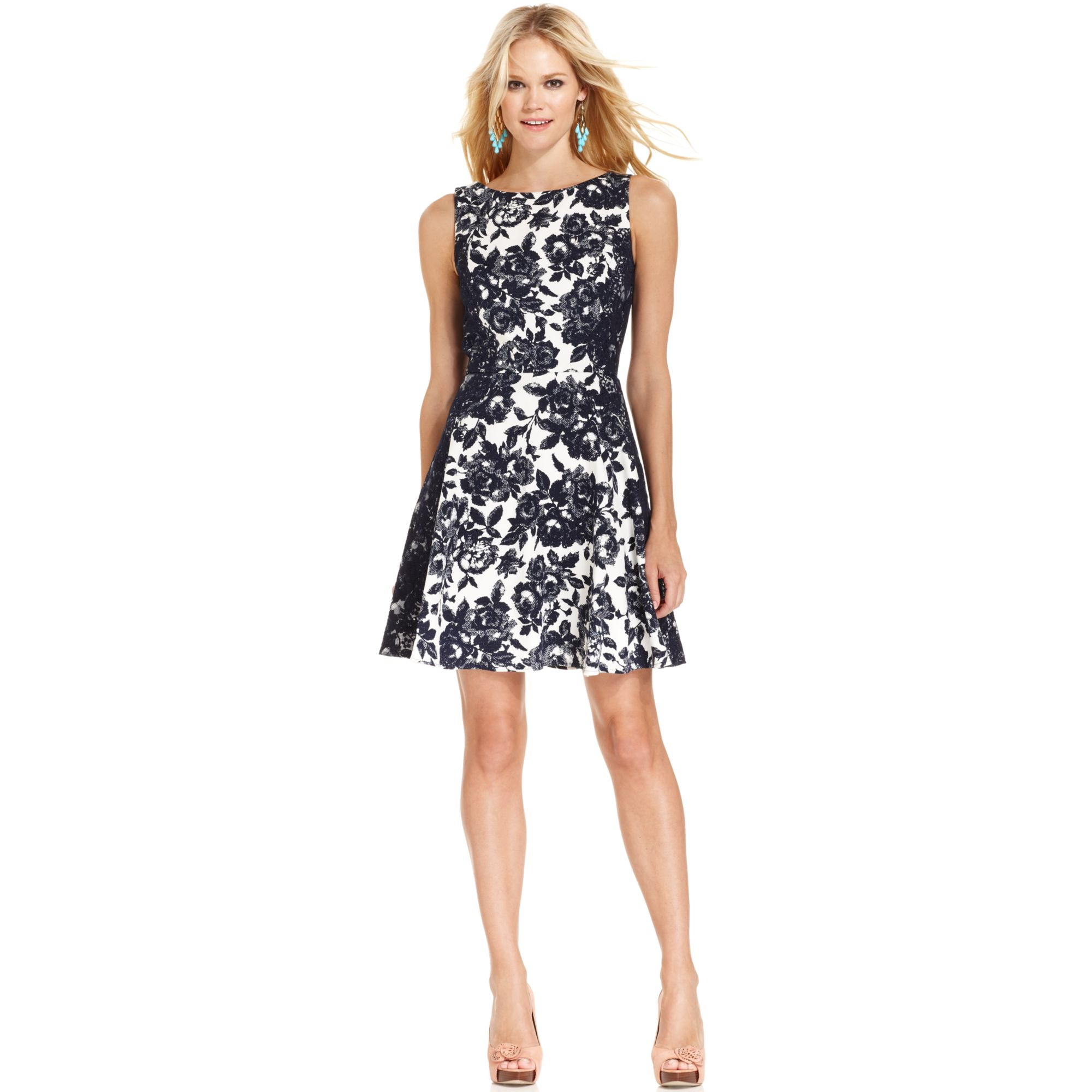 Lyst Jessica Simpson Sleeveless Floralprint Dress In Blue