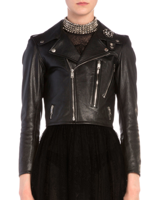606ee6a71b1 Saint Laurent Brooch-Detailed Cropped Leather Moto Jacket in Black ...