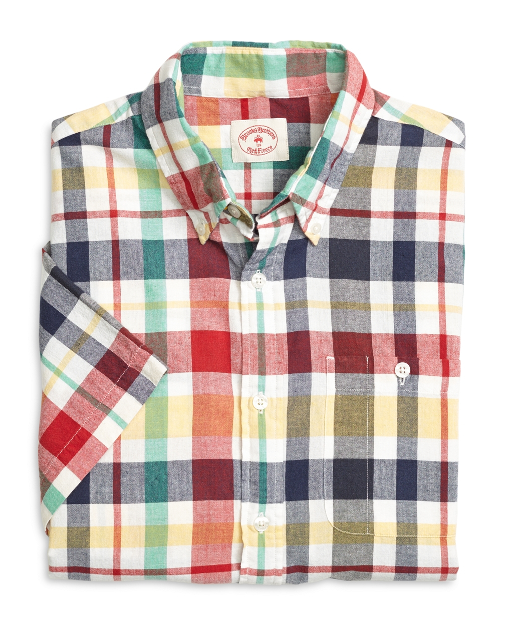 Lyst - Brooks Brothers Red Madras Short-sleeve Sport Shirt in Red ... 986bb7e1ed3e