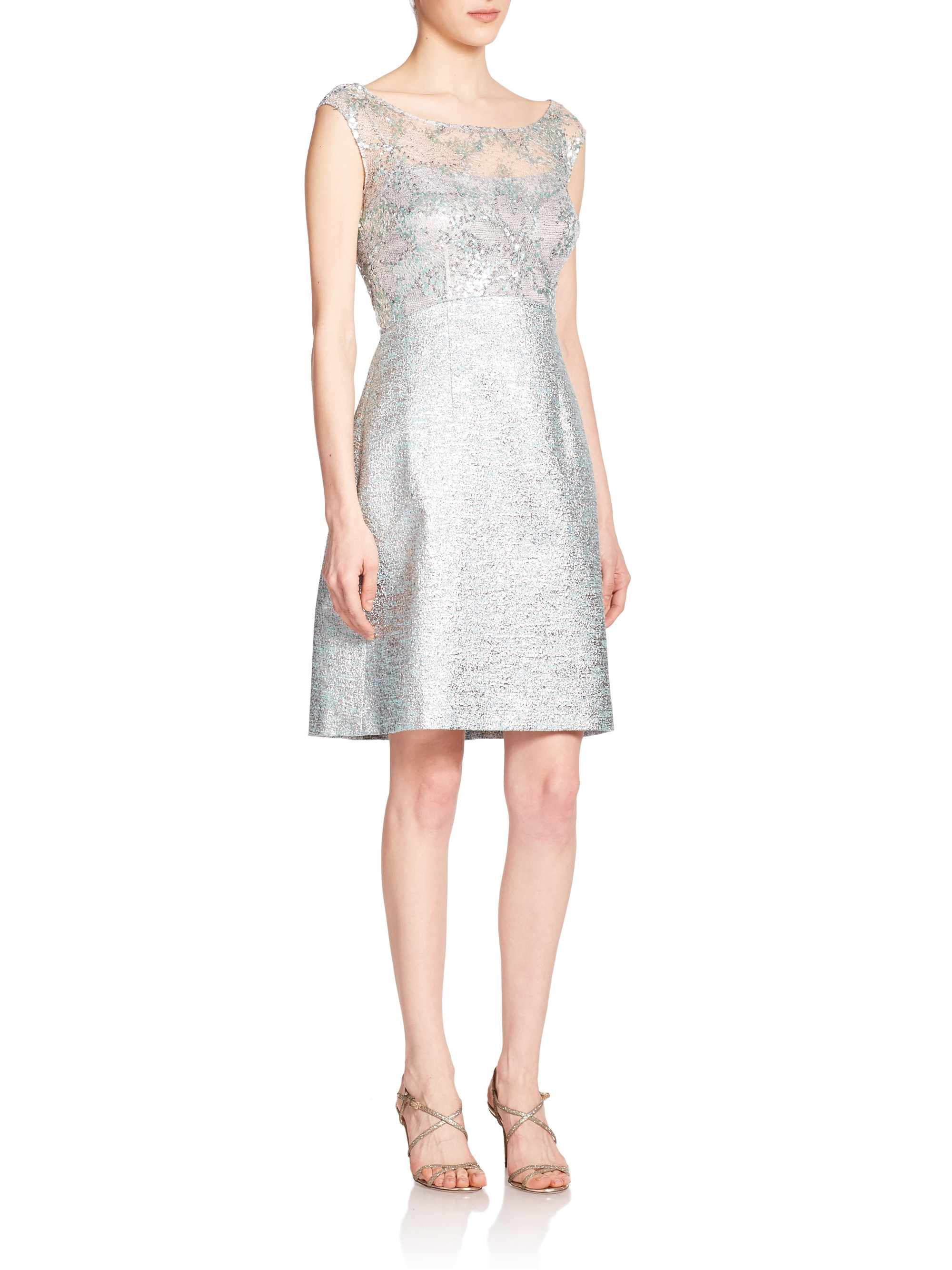 bd0ad5a1799 Lyst - Kay Unger Sequined Tweed Sheath Dress in Blue