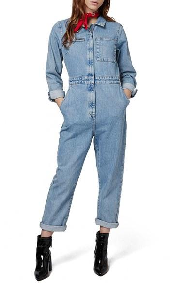 Topshop 'mechanic' Denim Jumpsuit in Blue | Lyst