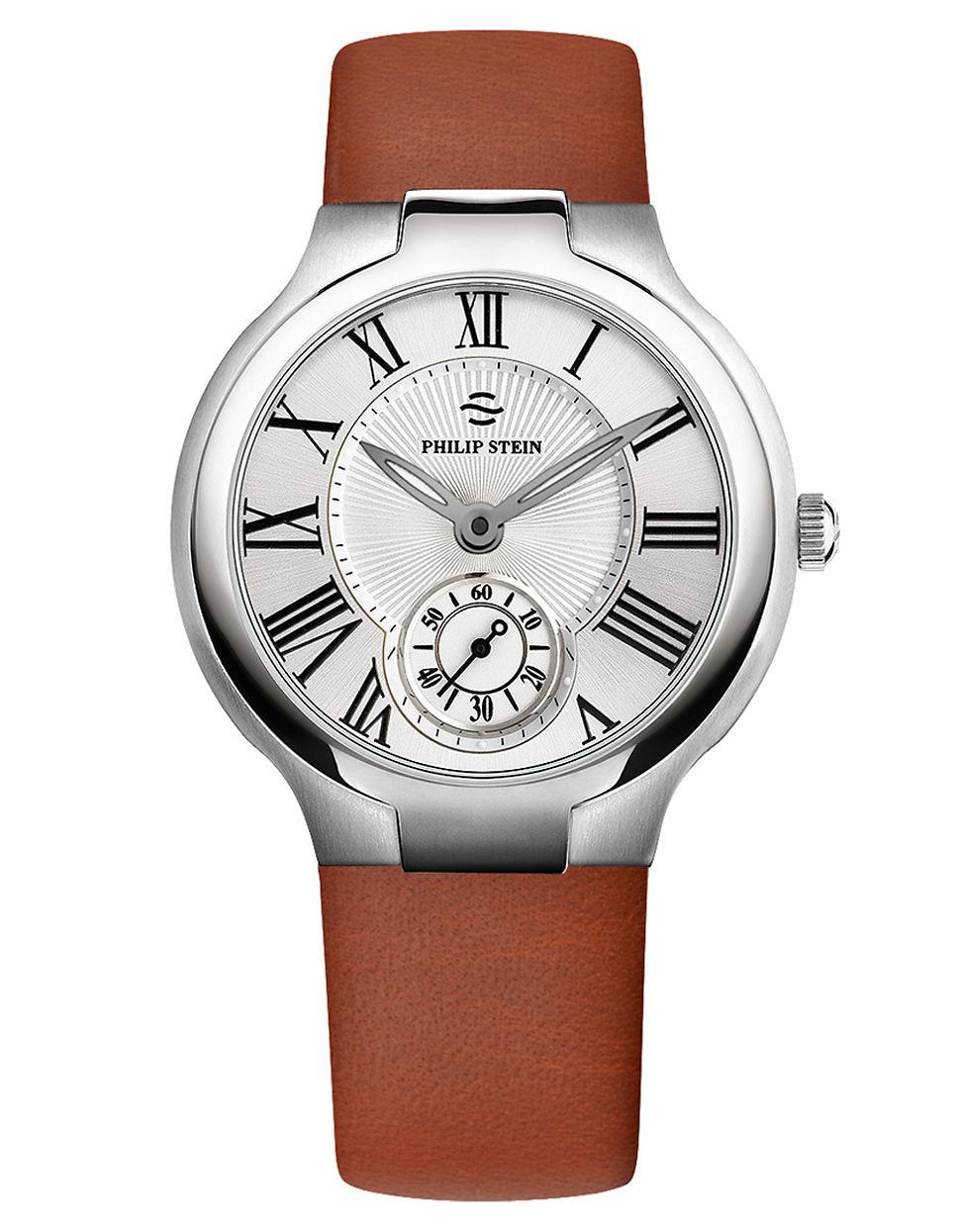 Philip stein unisex round watch on brown italian calf strap in brown lyst for Philip stein watches