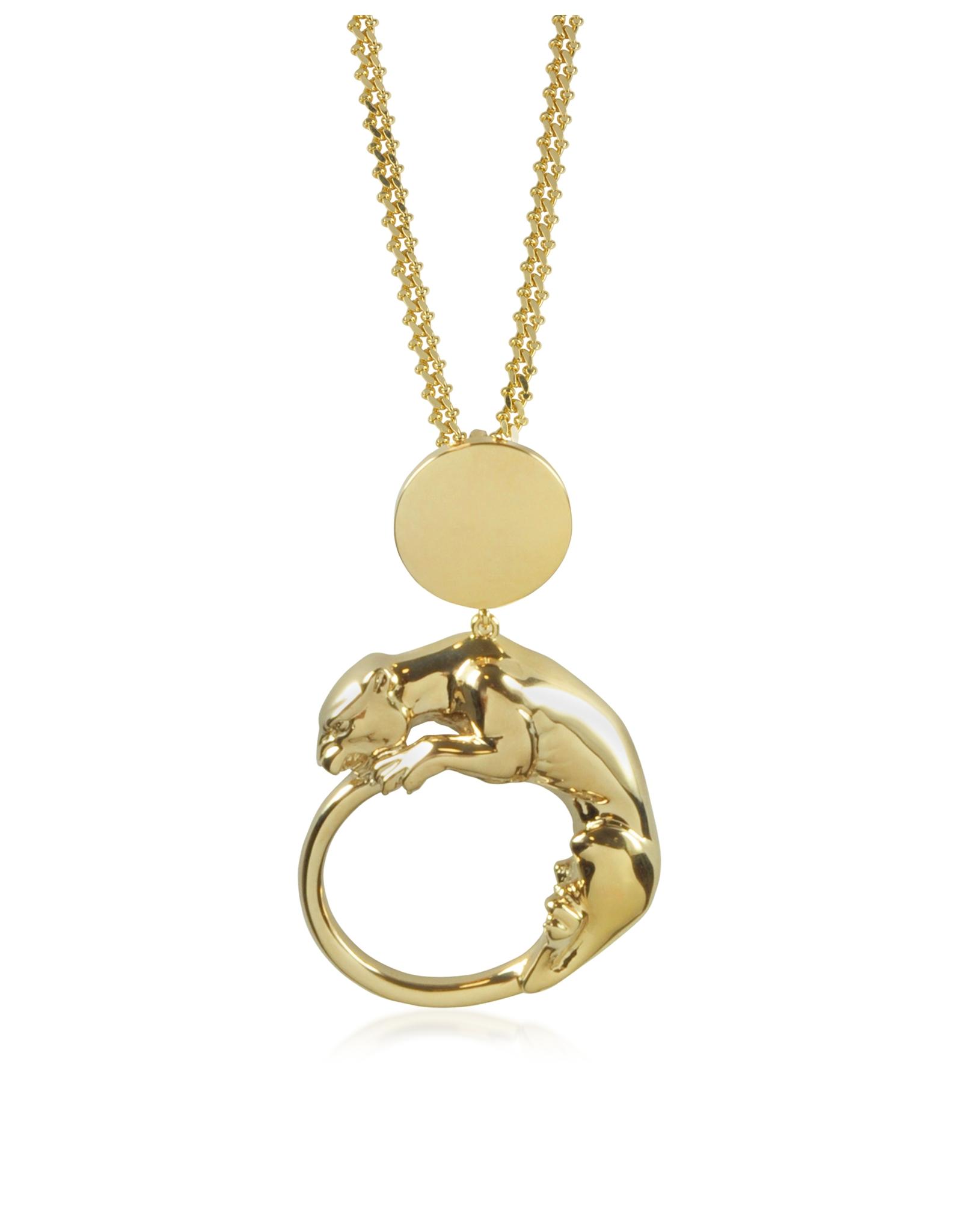 Roberto Cavalli Panther Light Gold Tone Metal Pendant In