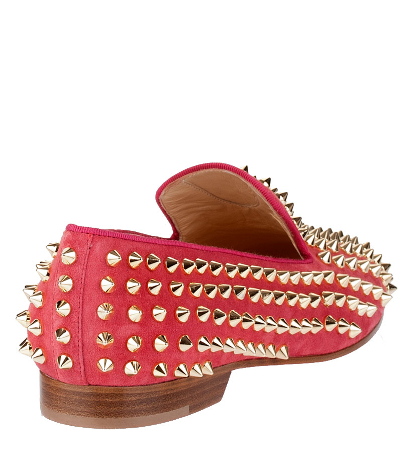 0ee9c4efb0e6 Christian louboutin Rolling Spikes Pink Suede Flat in Pink