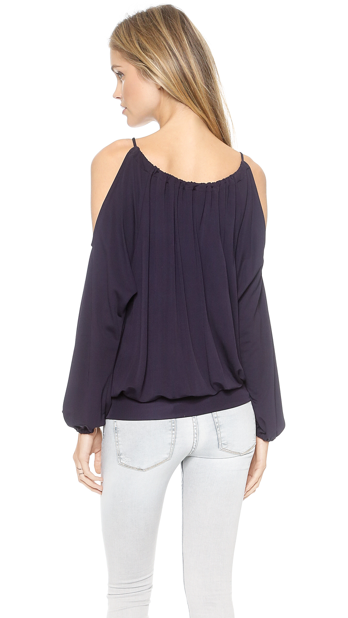 c5d123f9170 Ramy Brook Faye Long Sleeve Cold Shoulder Top - Pine in Purple - Lyst