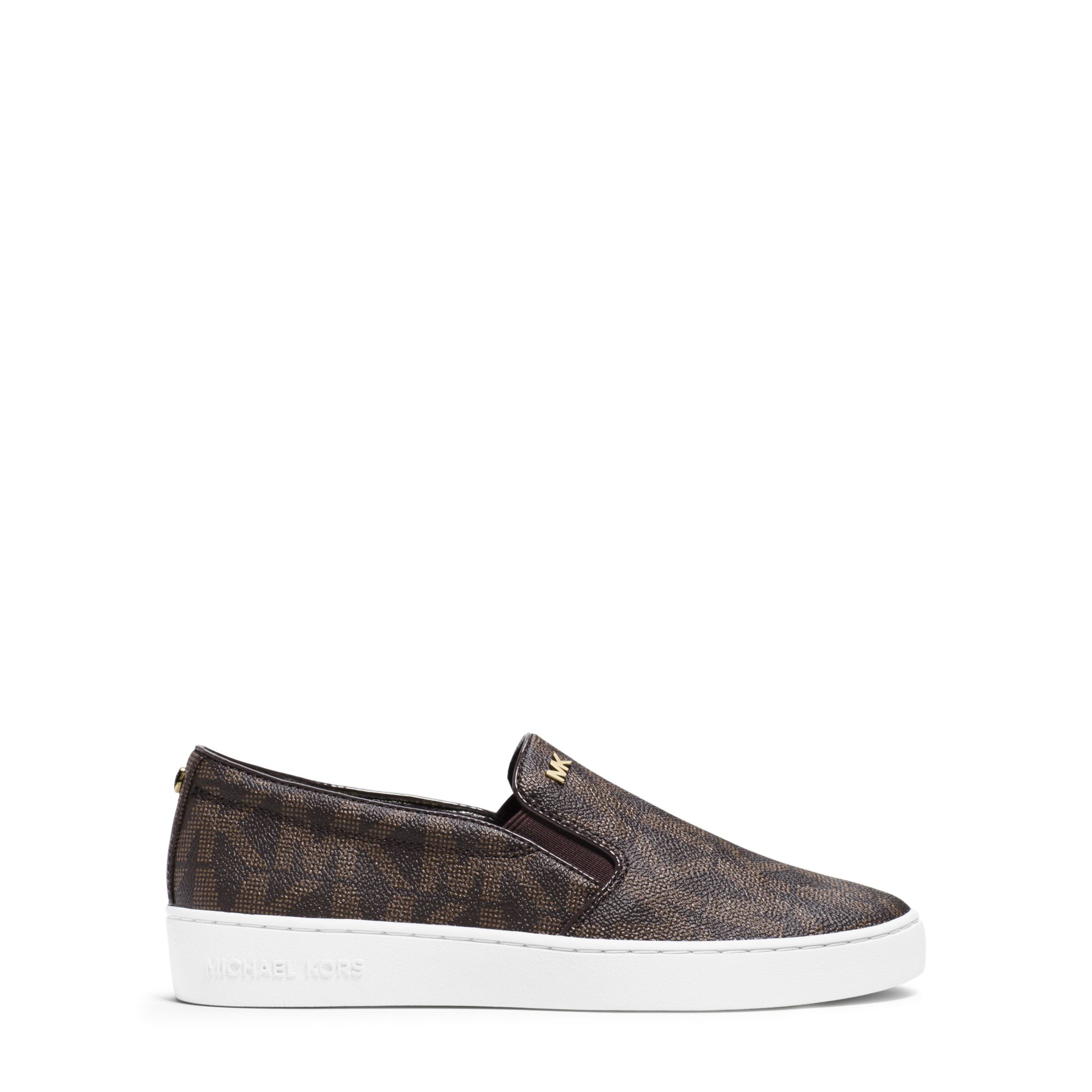 michael kors keaton logo slip on sneaker in brown. Black Bedroom Furniture Sets. Home Design Ideas
