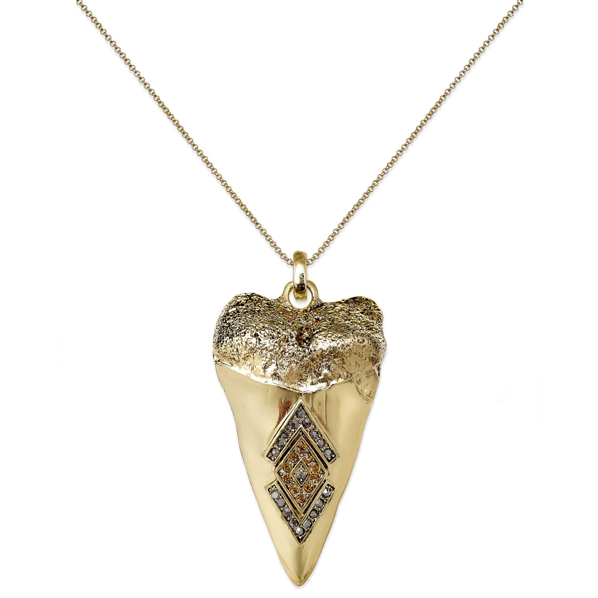 house of harlow goldtone pav 233 shark tooth pendant