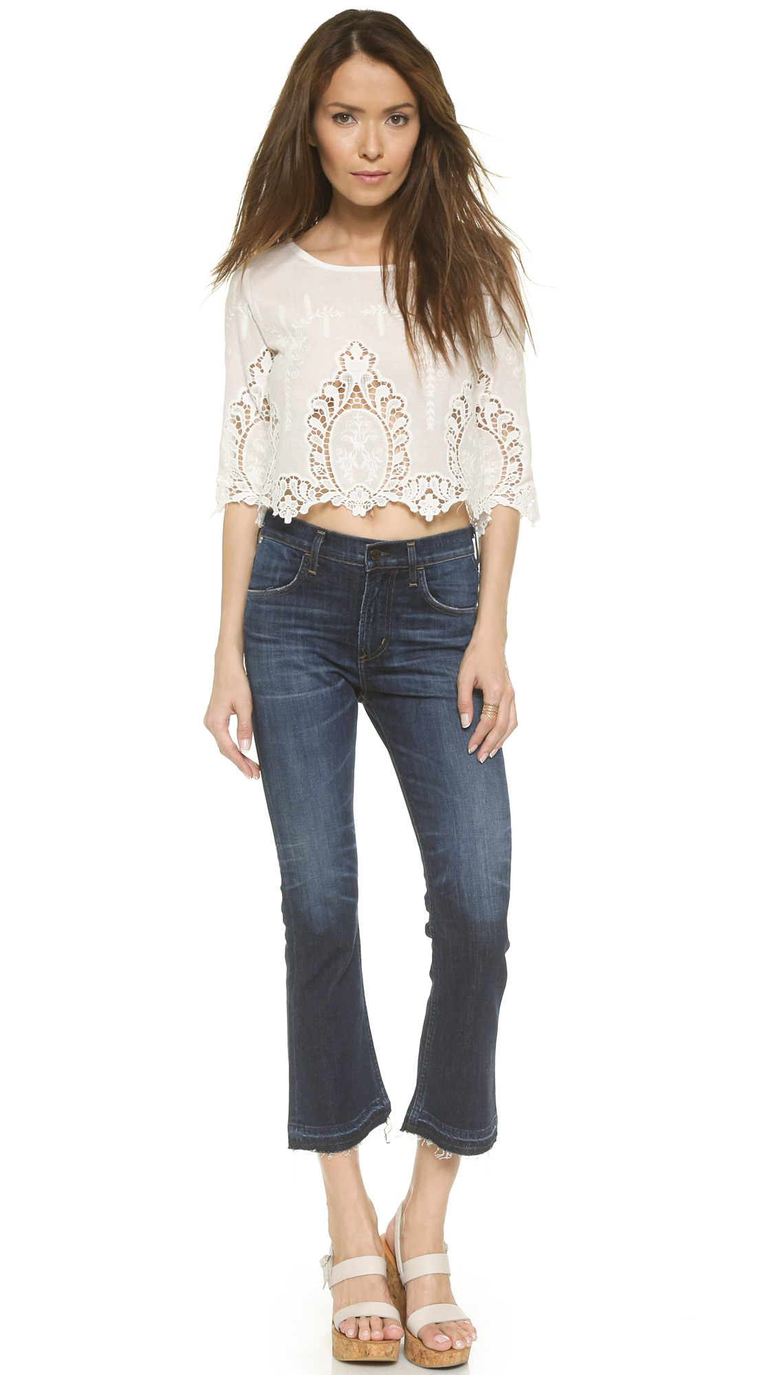 citizens of humanity drew cropped flare jeans waterfront in blue waterfront lyst. Black Bedroom Furniture Sets. Home Design Ideas