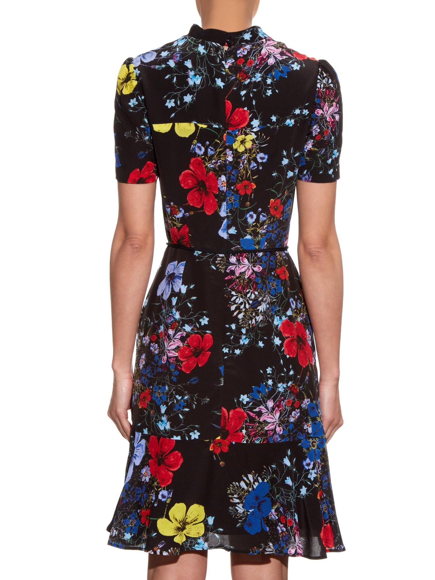 515811953c7638 Lyst - Erdem Anne Short-sleeved Floral-print Dress in Black