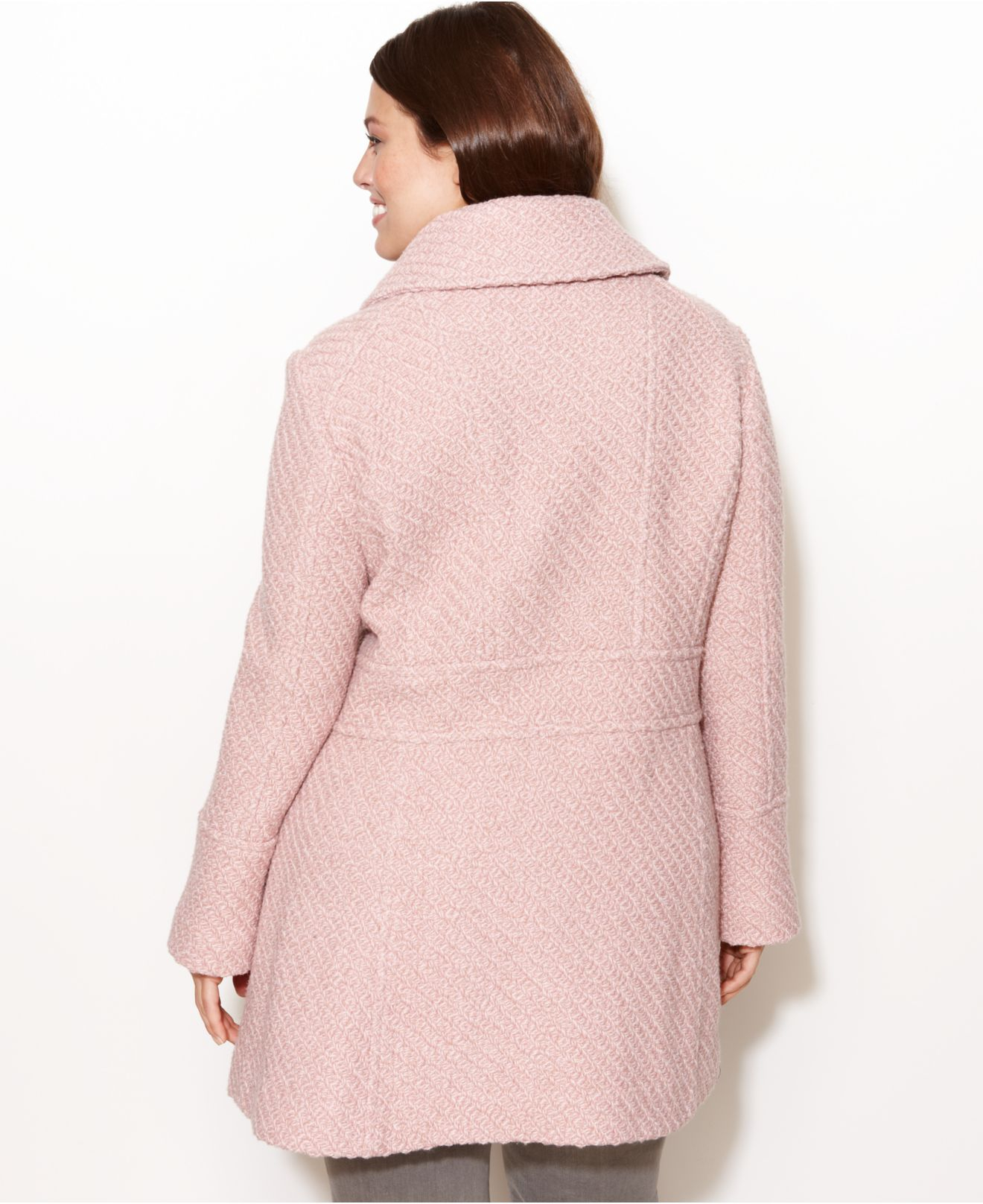 Jessica simpson Plus Size Braided A-Line Walker Coat in Pink | Lyst