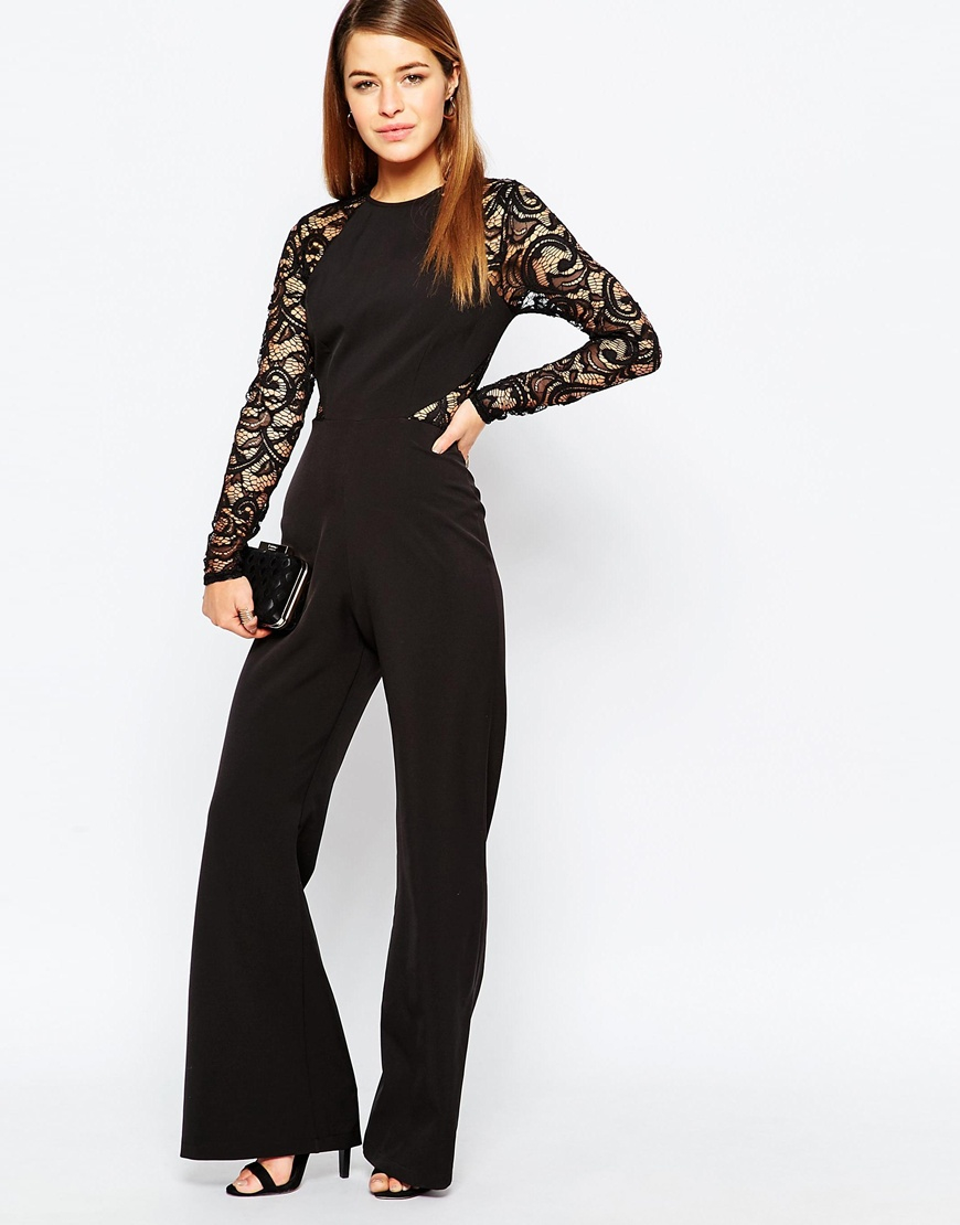 John zack Lace Sleeve And Back Detail Jumpsuit - Black in Black | Lyst