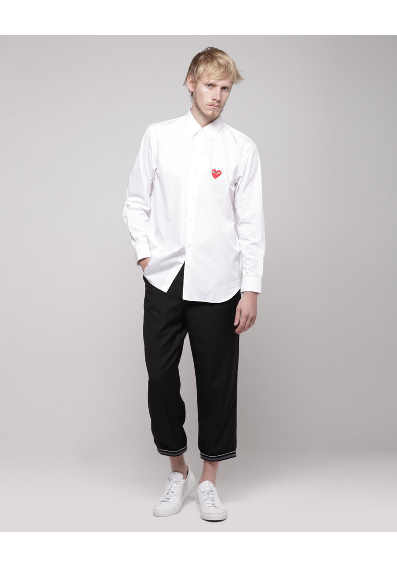lyst play comme des gar ons men 39 s emblem shirt in white. Black Bedroom Furniture Sets. Home Design Ideas