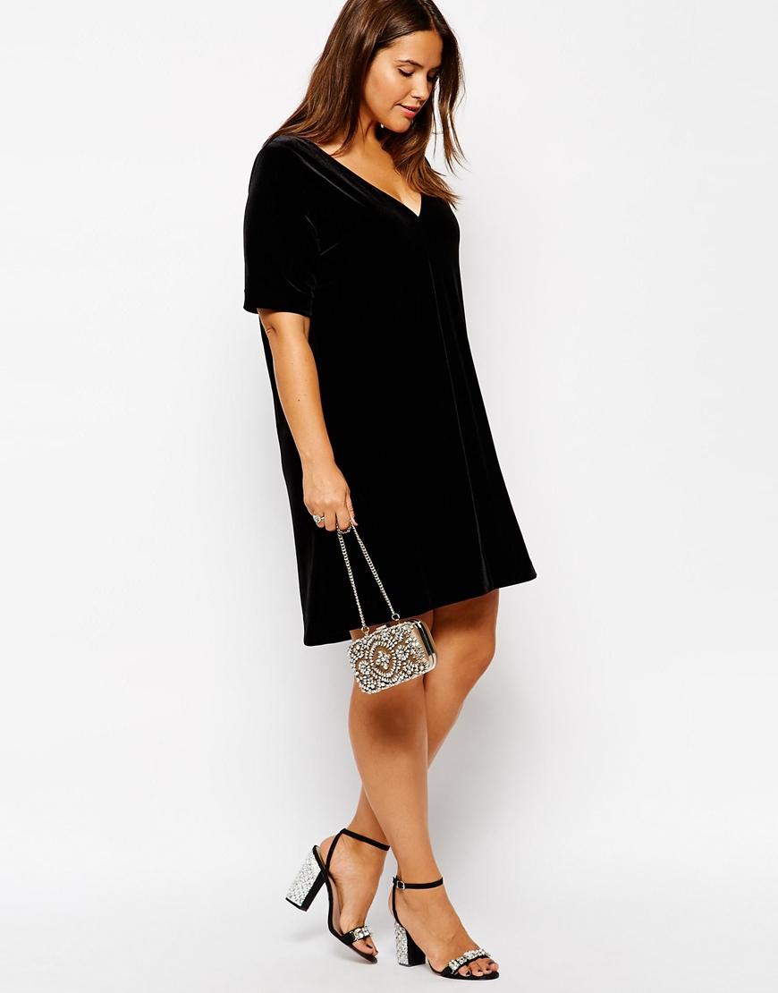 3e46560c26 Lyst - ASOS Exclusive Shift Dress In Velvet With Deep V Neck in Black