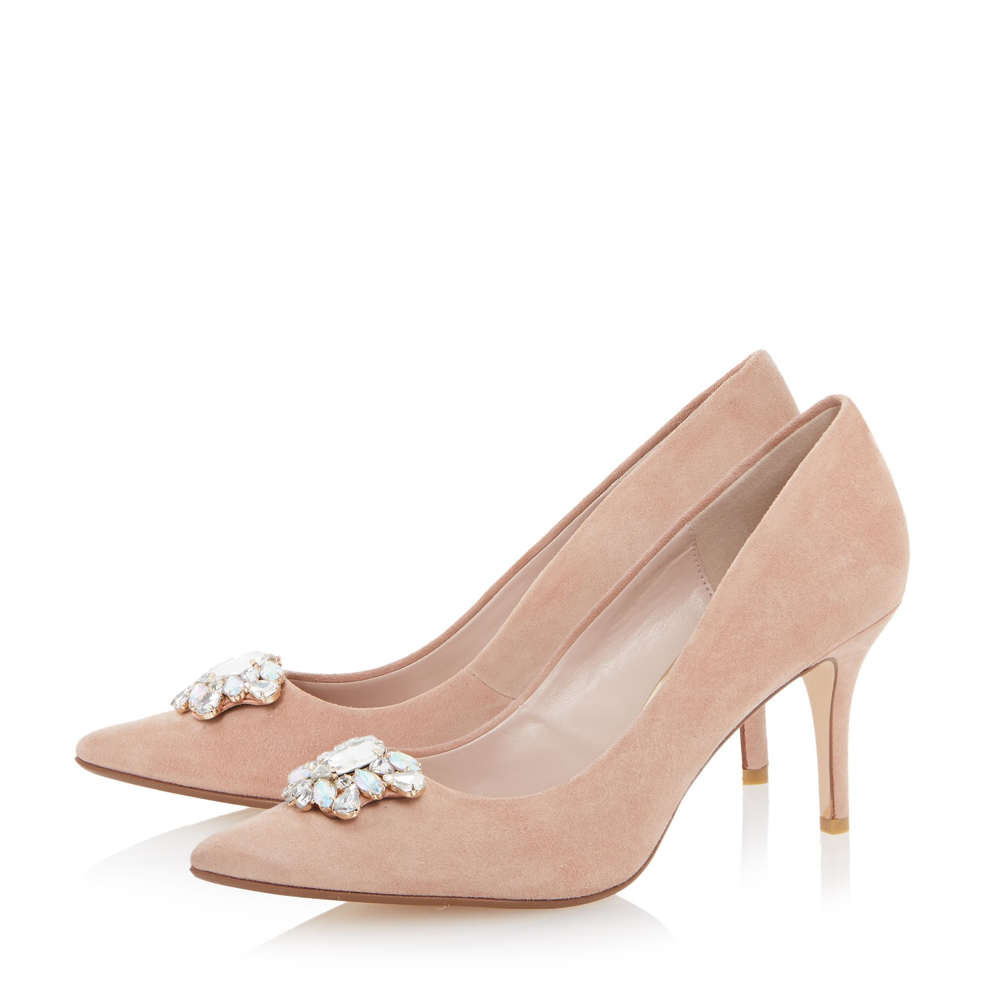 Lyst - Dune Belles Jewel Trim Mid Heel Court Shoes in Pink 40821b57deff