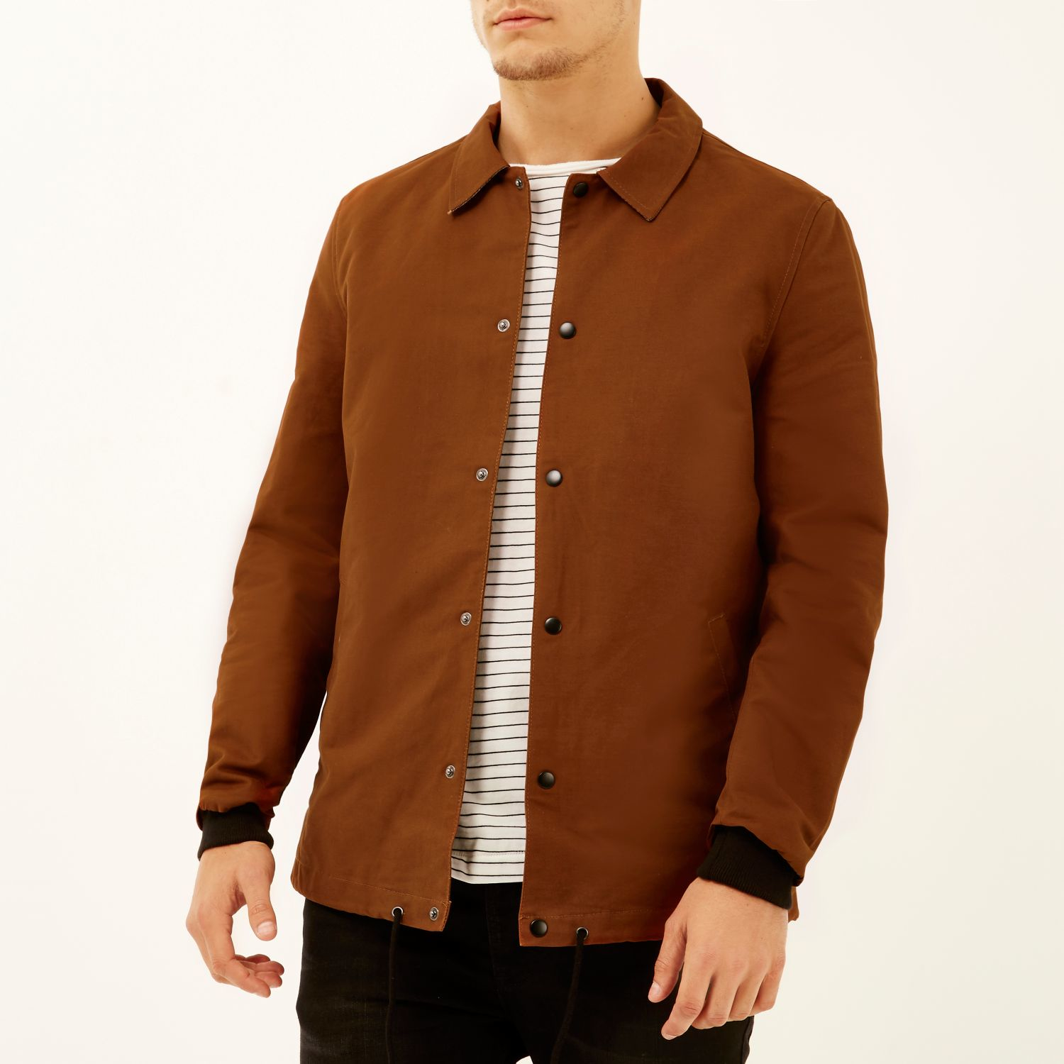 River island Rust Brown Casual Coach Jacket in Brown for Men | Lyst