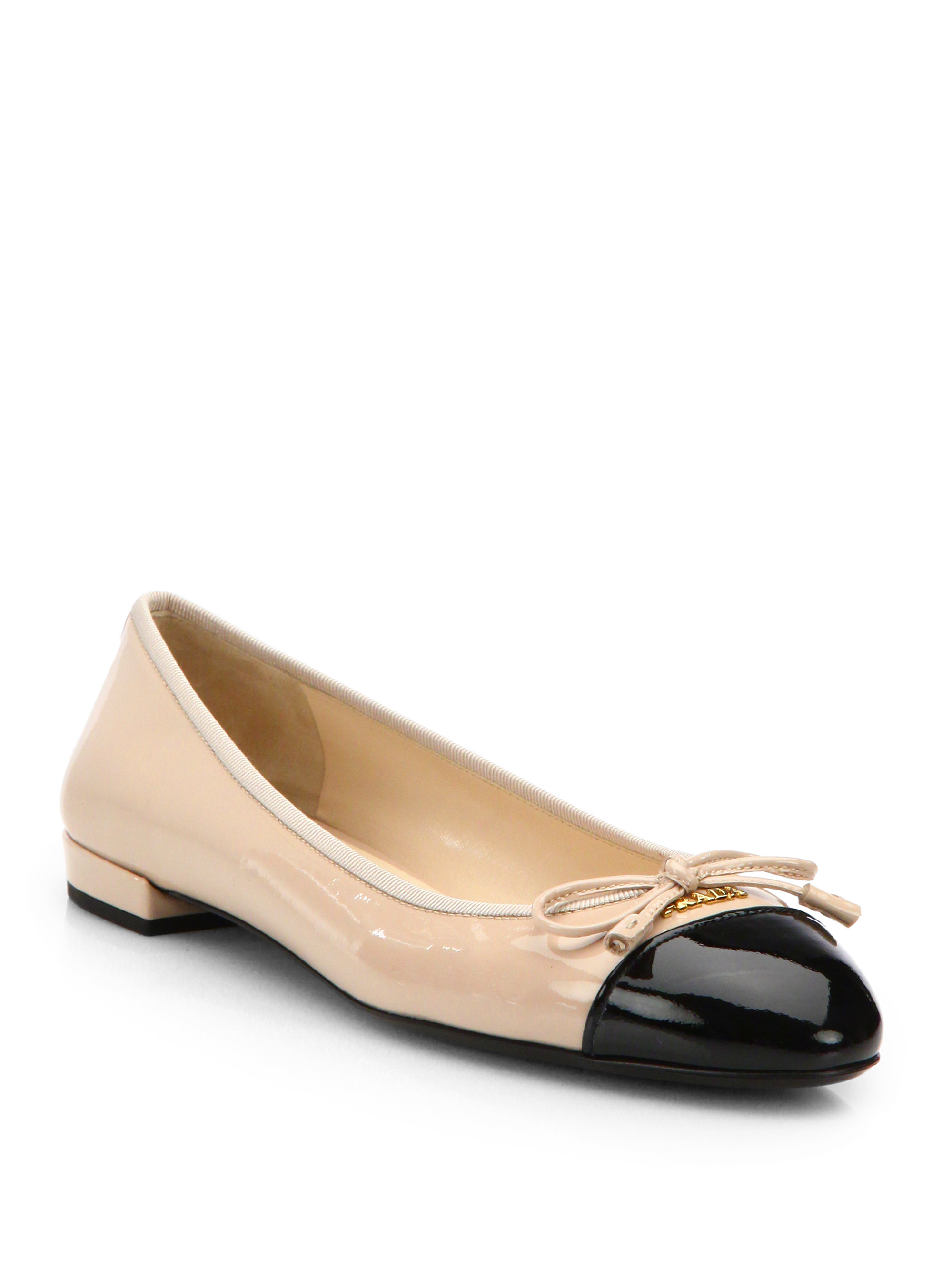 Lyst - Prada Patent Leather Cap-Toe Ballet Flats in Black 07f186b6bbf3