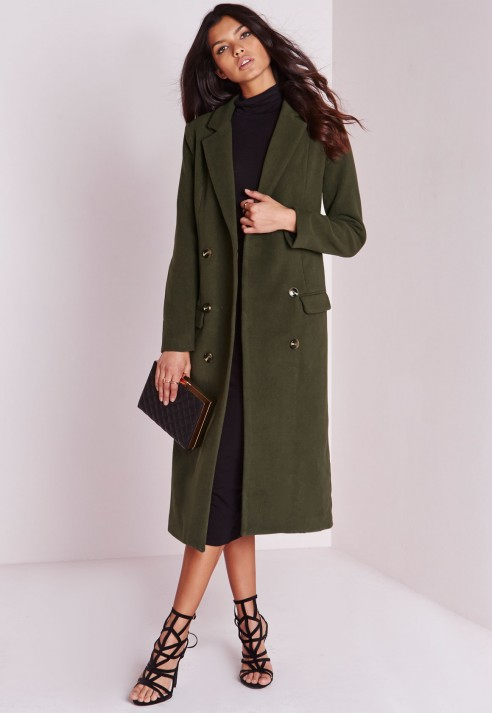 Missguided Double Breasted Tailored Long Wool Coat Khaki in Green ...