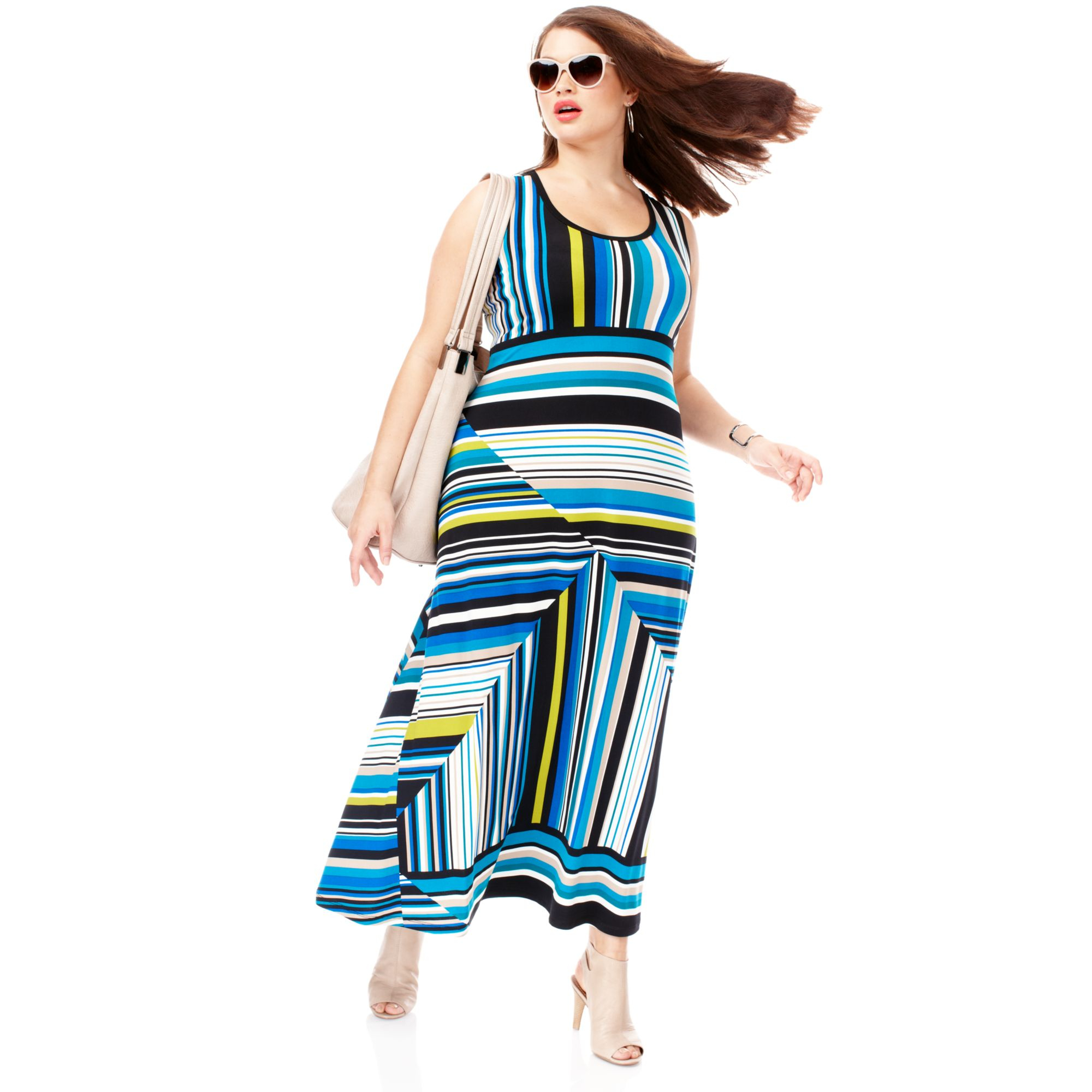 Blue and green striped maxi dress