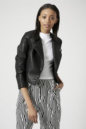 Topshop Petite Faux Leather Collarless Biker Jacket in Black | Lyst