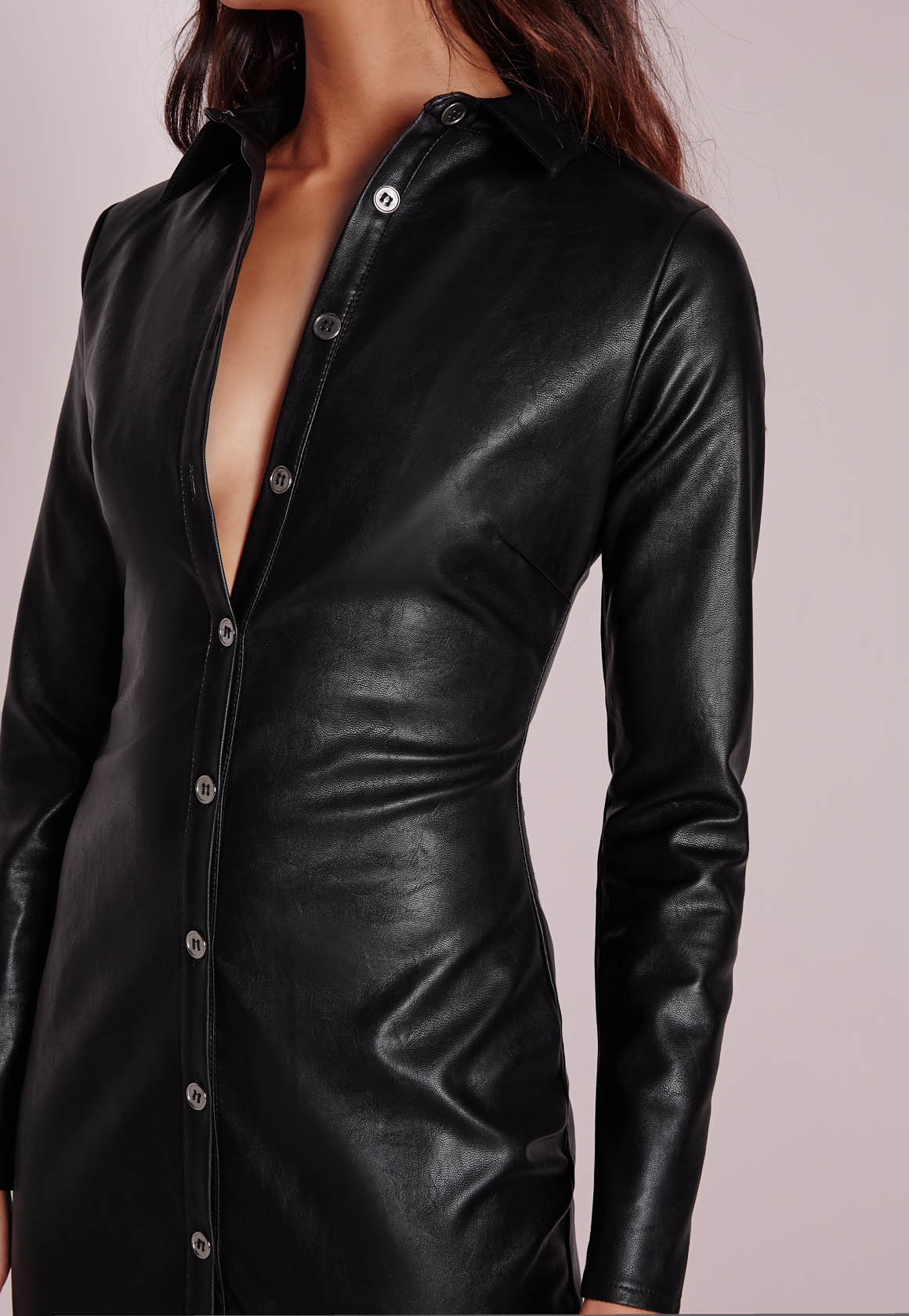 Lyst - Missguided Faux Leather Fitted Midi Shirt Dress ...