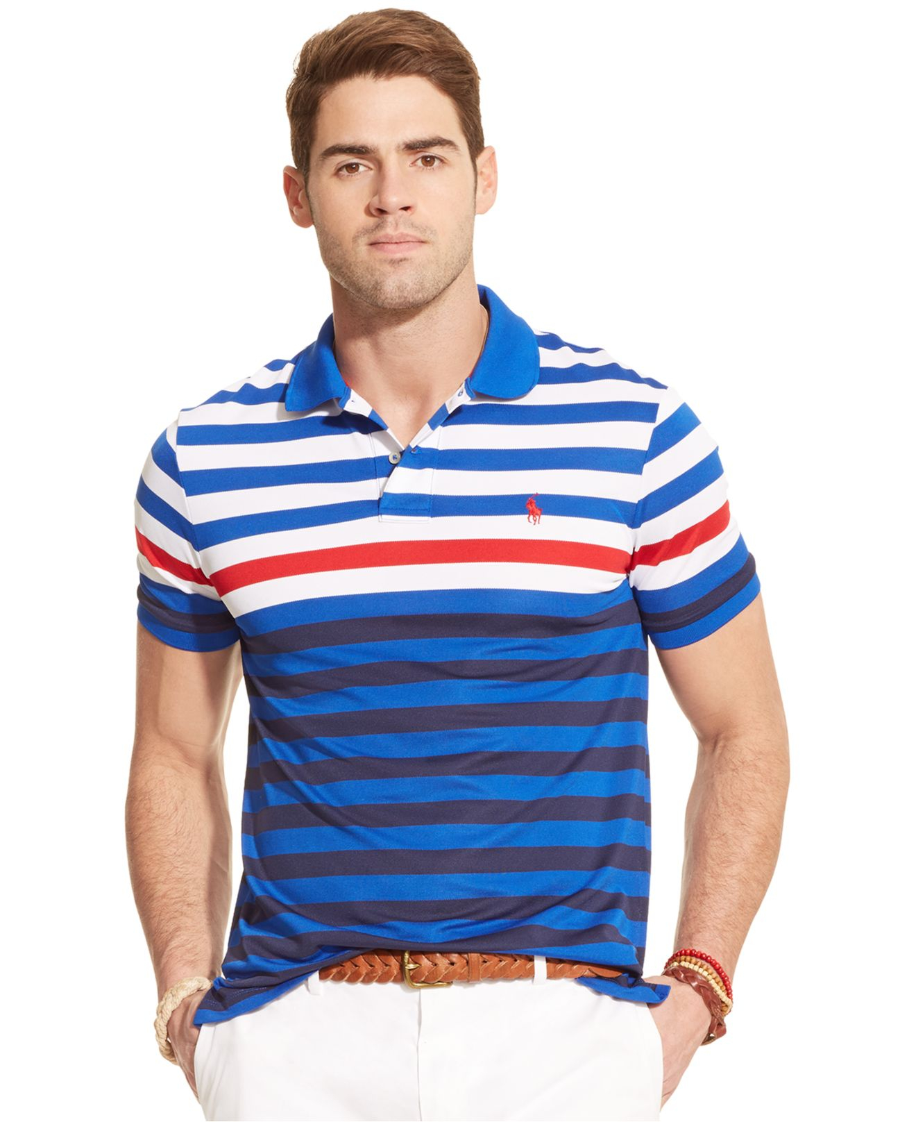 polo ralph lauren multi striped performance mesh polo shirt in blue for men lyst. Black Bedroom Furniture Sets. Home Design Ideas