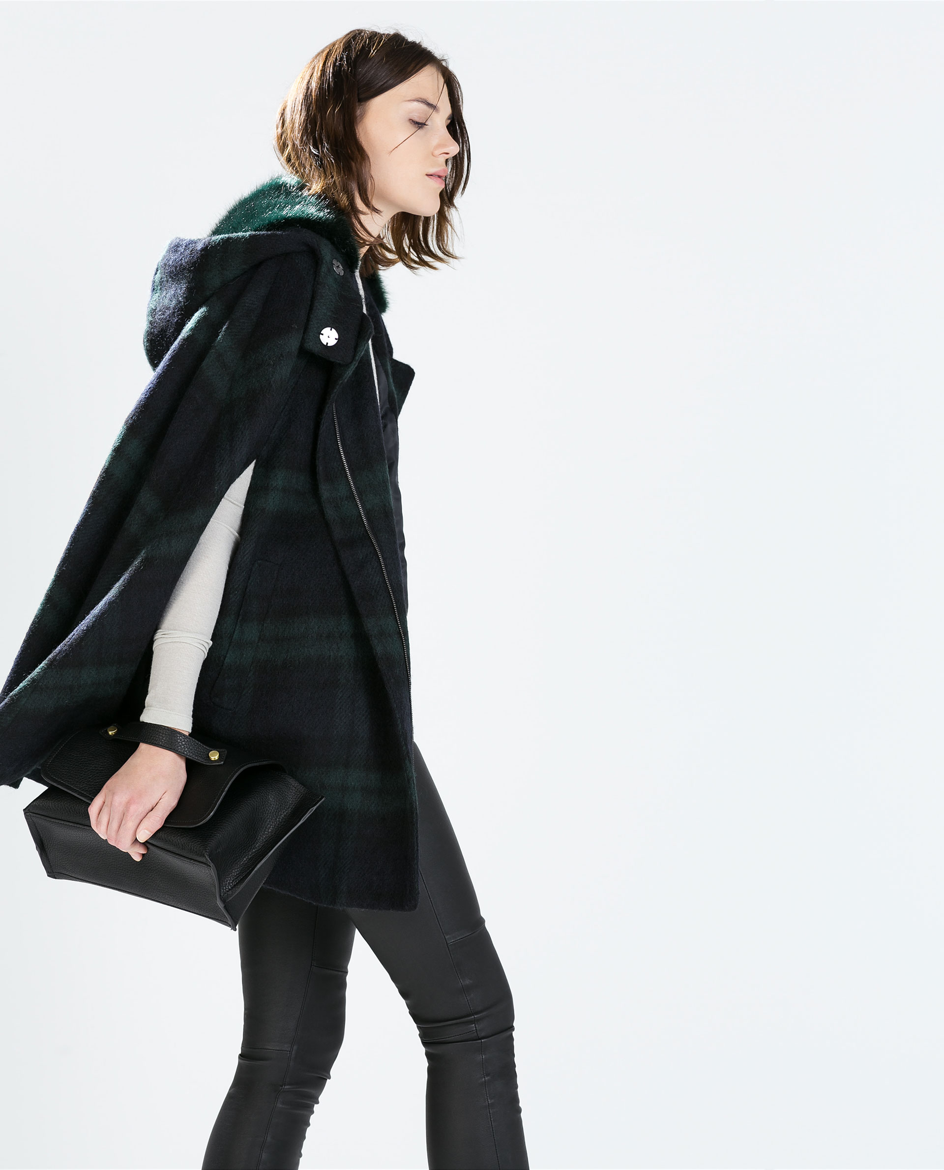 zara hooded checked wool cape in green green blue lyst. Black Bedroom Furniture Sets. Home Design Ideas