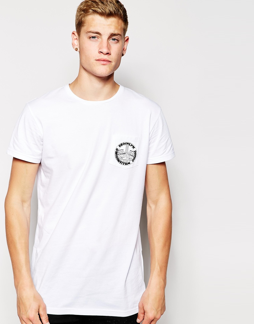 Unique Lyst - Brooklyn Supply Co. T-shirt One Pocket Logo Print in White  YT47