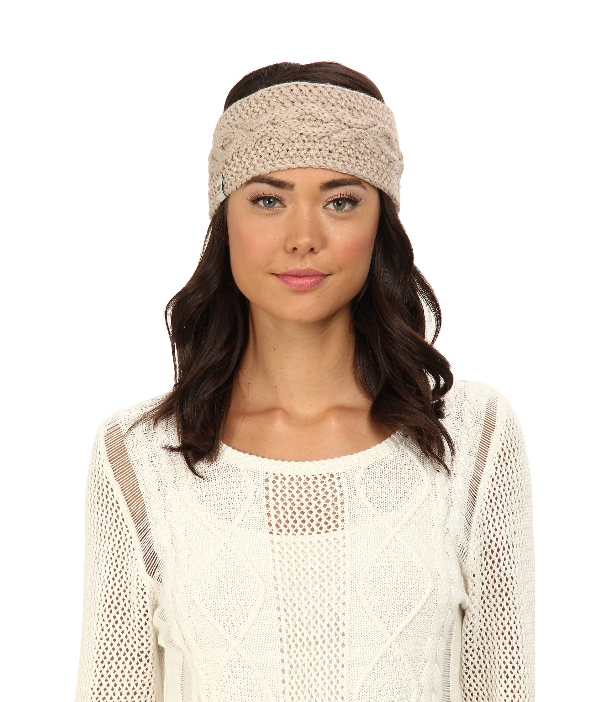 Ugg Nyla Cable Headband With Lurex In Gray Moonlight M