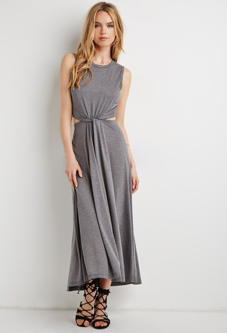 Forever 21 Knotted Cutout-waist Maxi Dress in Gray | Lyst