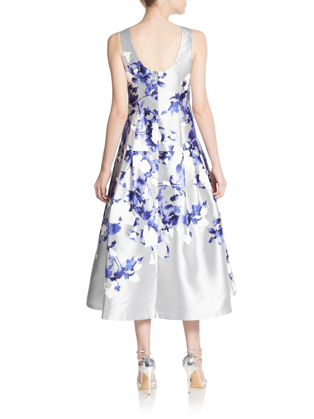 Kay unger black rose floral dress