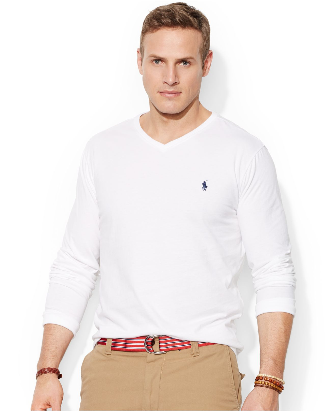 Lyst polo ralph lauren big and tall long sleeve v neck t Mens long sleeve white t shirt
