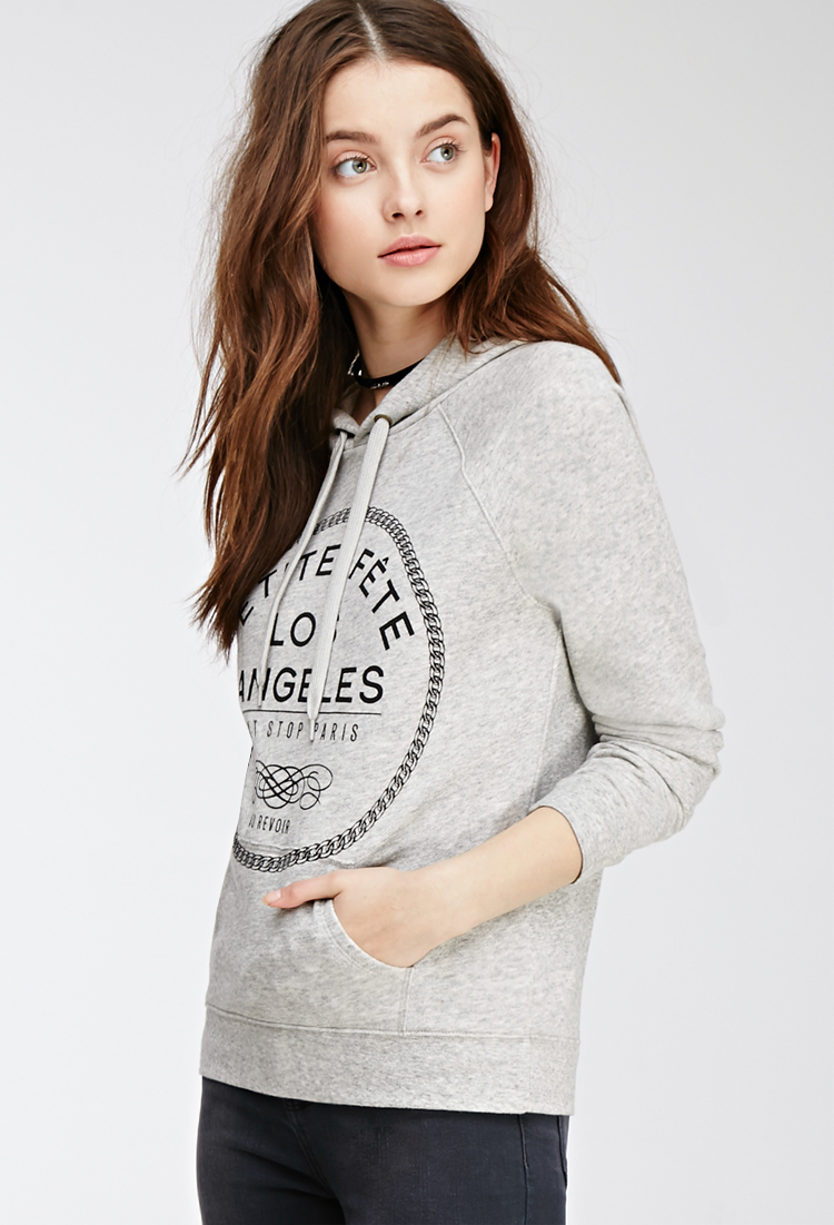 Forever 21 Petite Fête Hooded Sweatshirt in Gray | Lyst