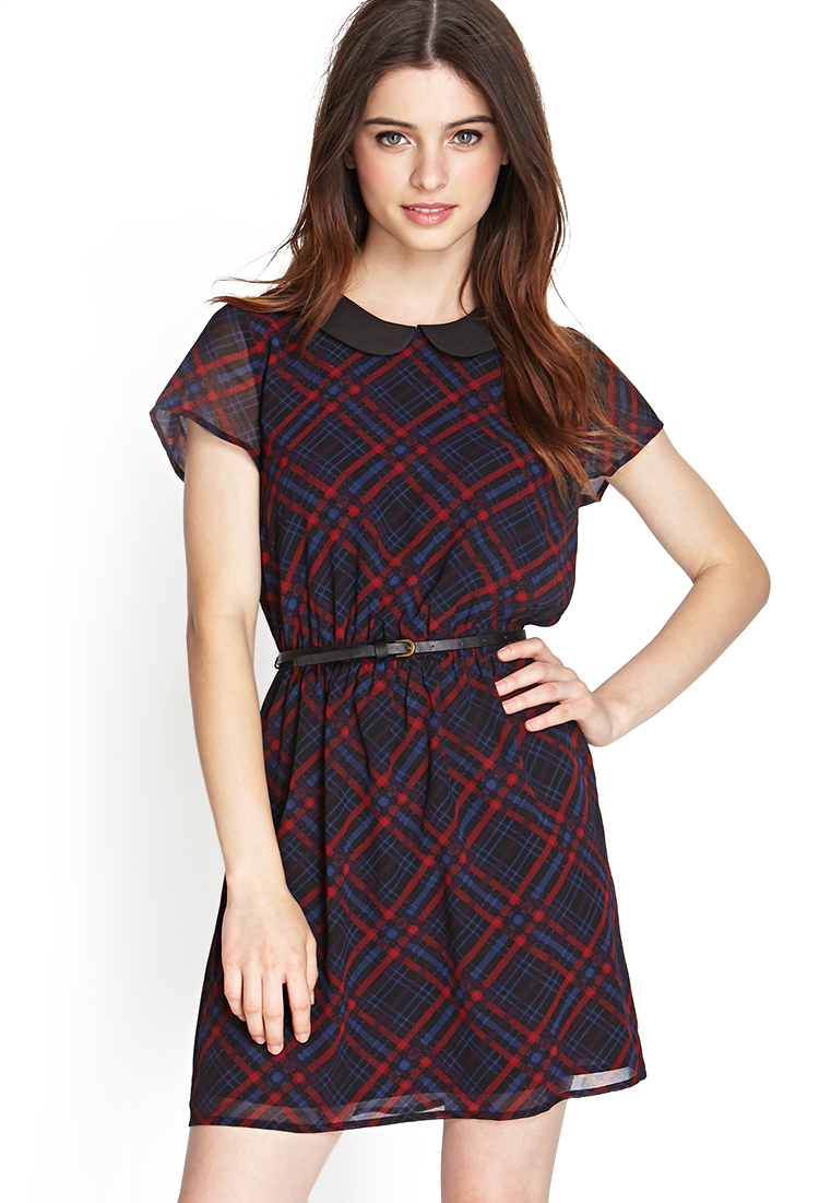 Lyst - Forever 21 Plaid Peter Pan Collar Dress in Blue - photo #8