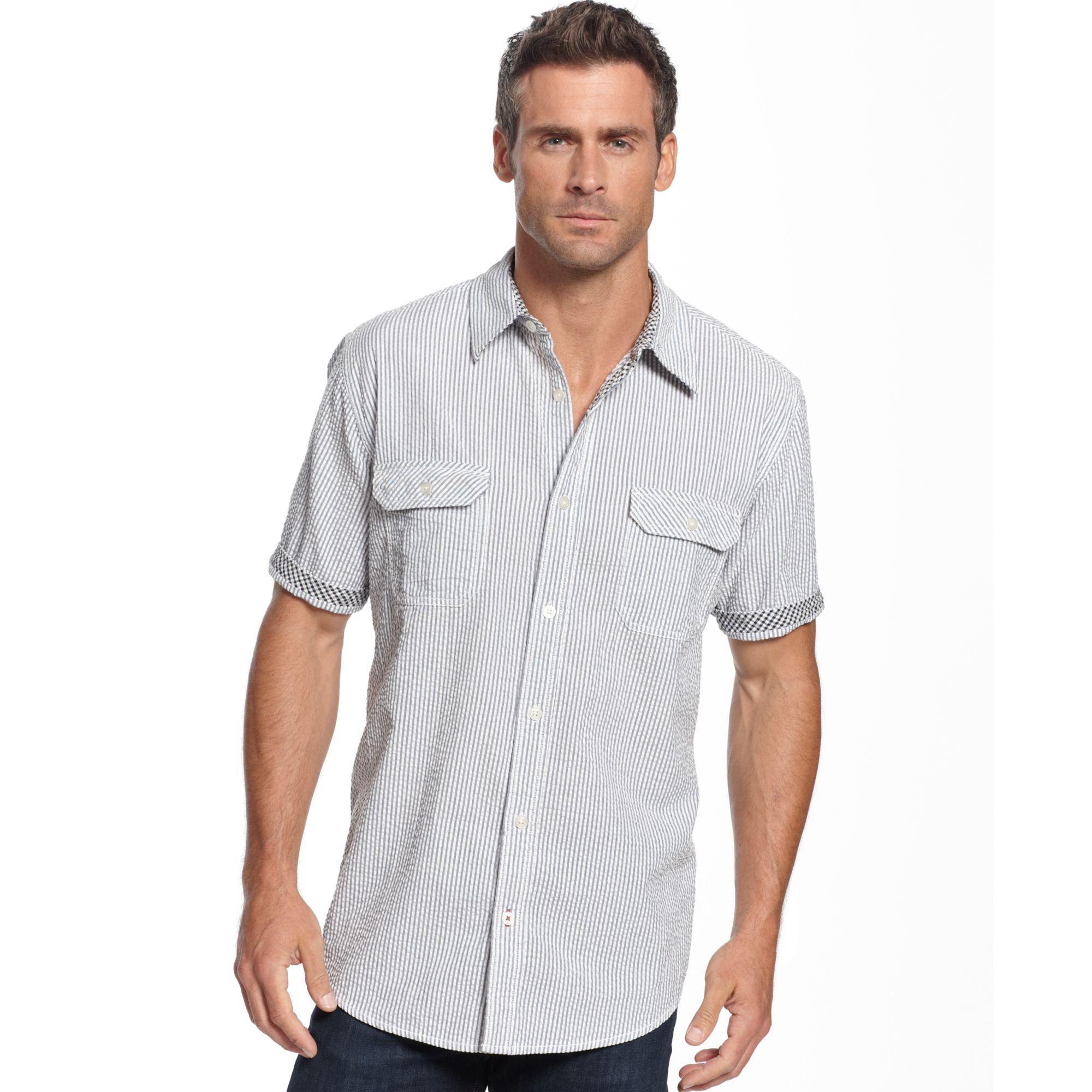 Weatherproof vintage striped seersucker shirt in blue for for Weatherproof vintage men s lightweight flannel shirt