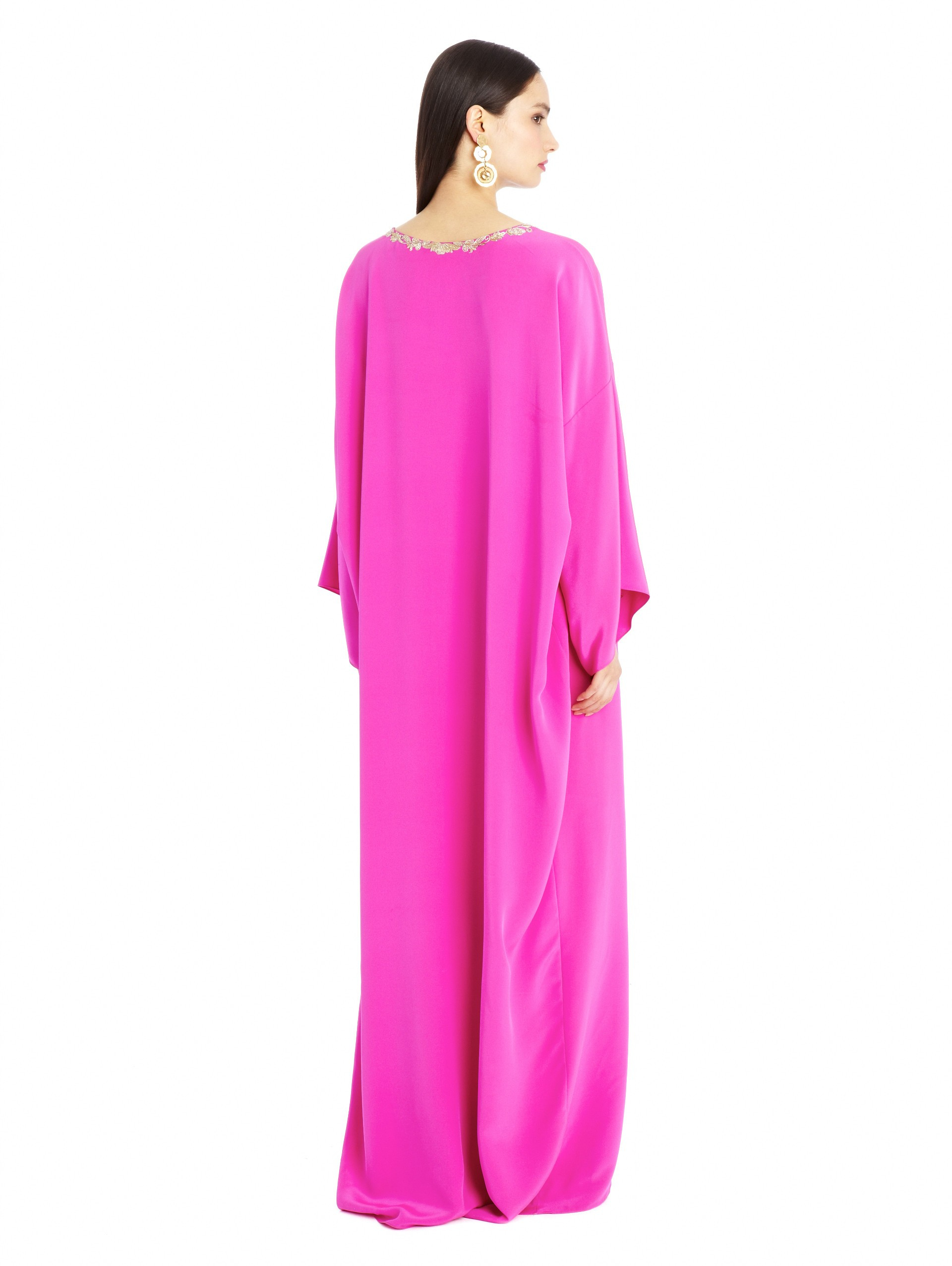 Oscar de la renta silk crepe metallic embroidered caftan for Caftan avec satin de chaise