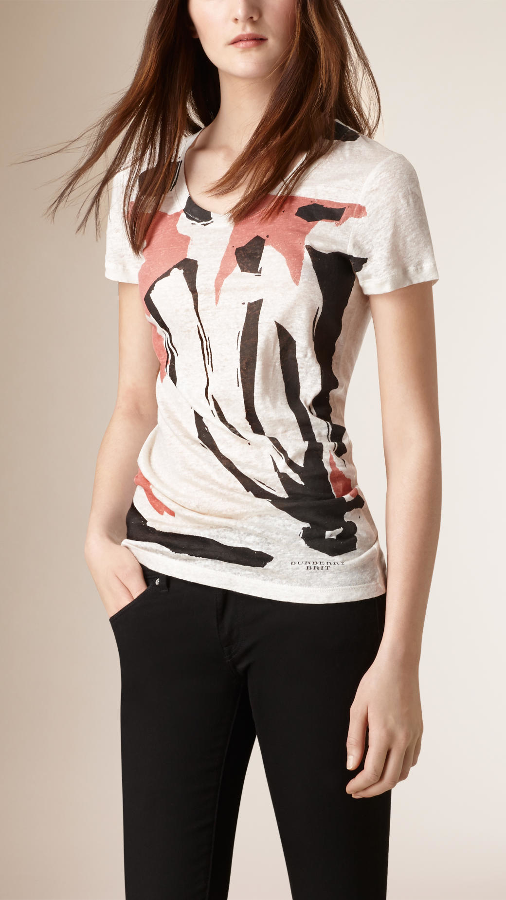 Burberry Graphic Flower Print Linen T Shirt In Natural Lyst