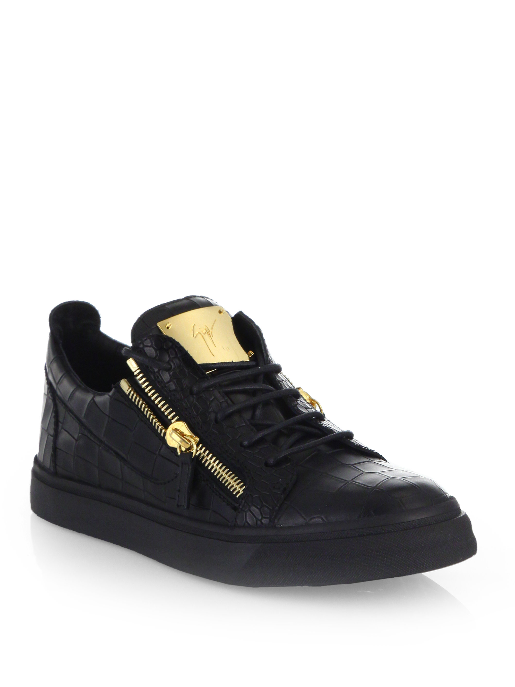 Giuseppe zanotti Leather Croc-embossed Low-top Sneakers in Black for Men | Lyst