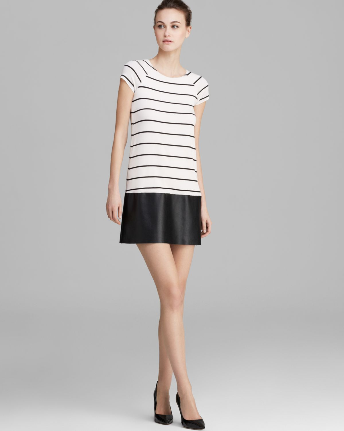 Bailey 44 Dress Dj Baba Cap Sleeve Striped with Faux Leather Skirt ...