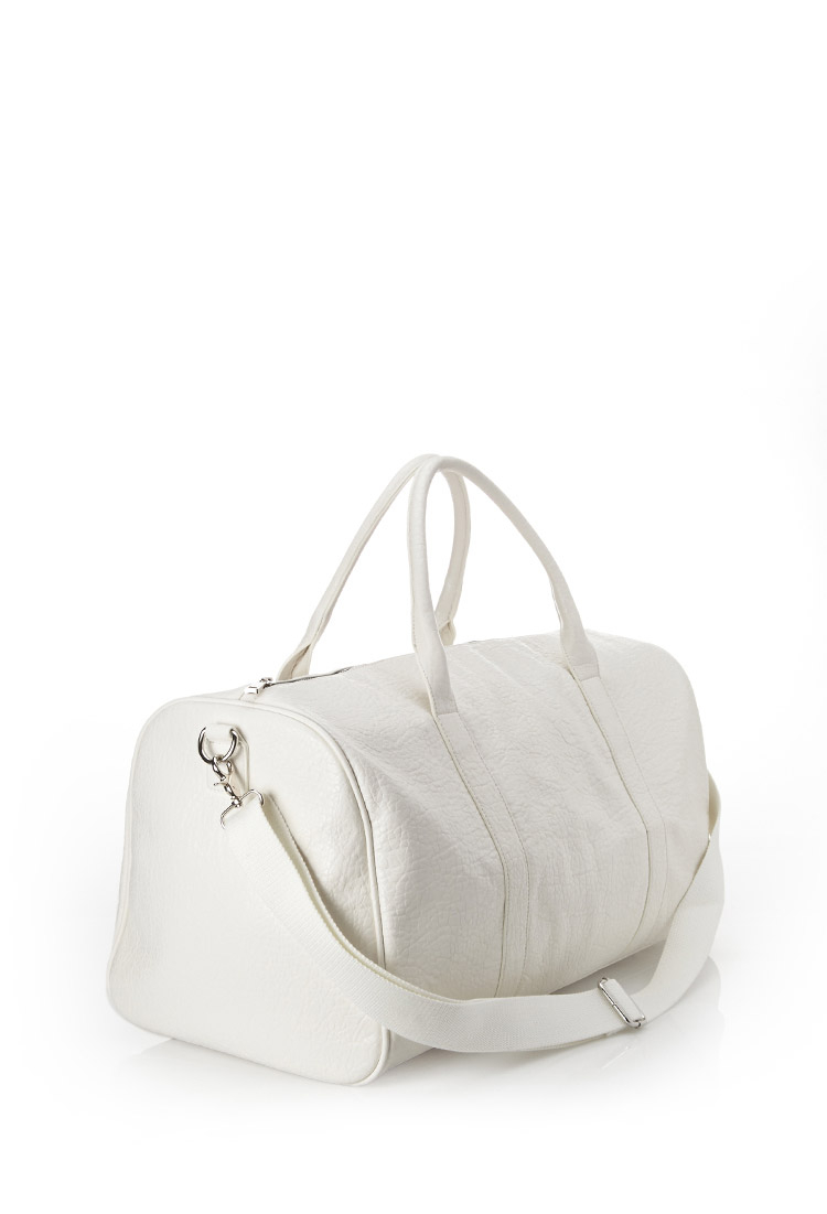 Forever 21 Faux Leather Duffle Bag in White for Men | Lyst