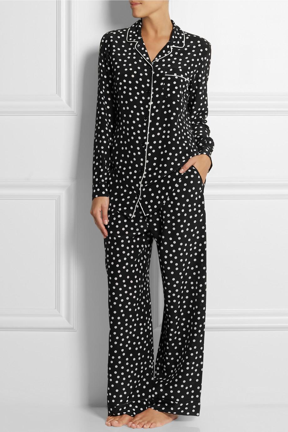 Dolce & gabbana Polka-Dot Silk Crepe De Chine Pajama Top in Black ...