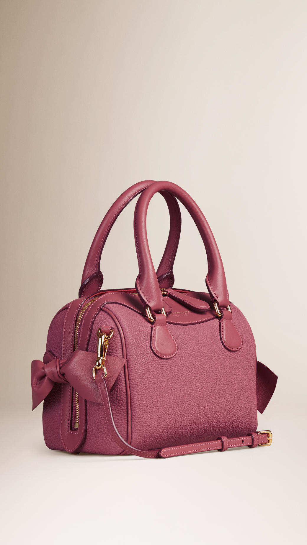 bd04b78575d Lyst - Burberry The Small Alchester Bow-Detailed Leather Bag in Pink