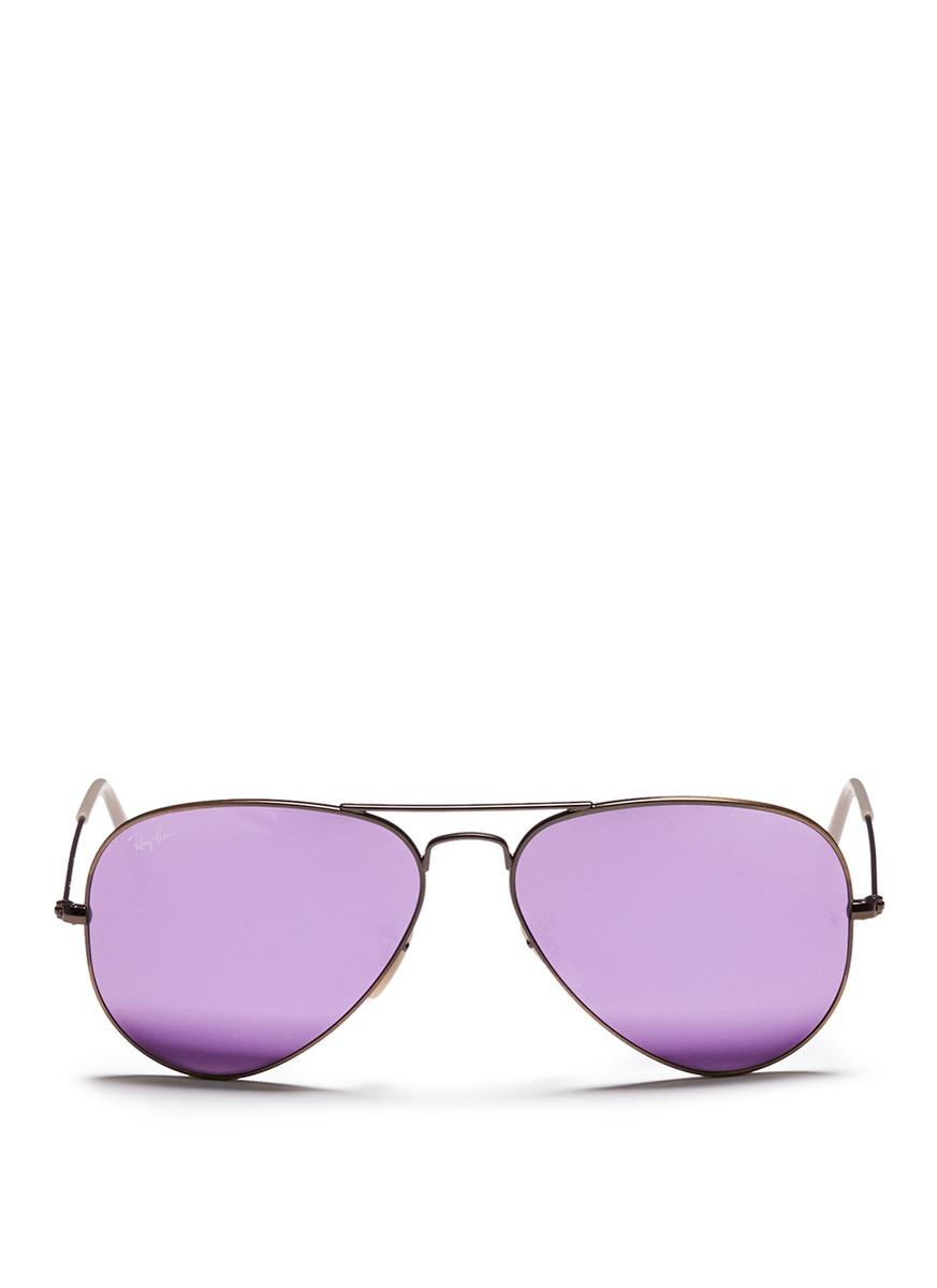 Lyst Ray Ban Aviator Flash Lenses Metal Sunglasses In