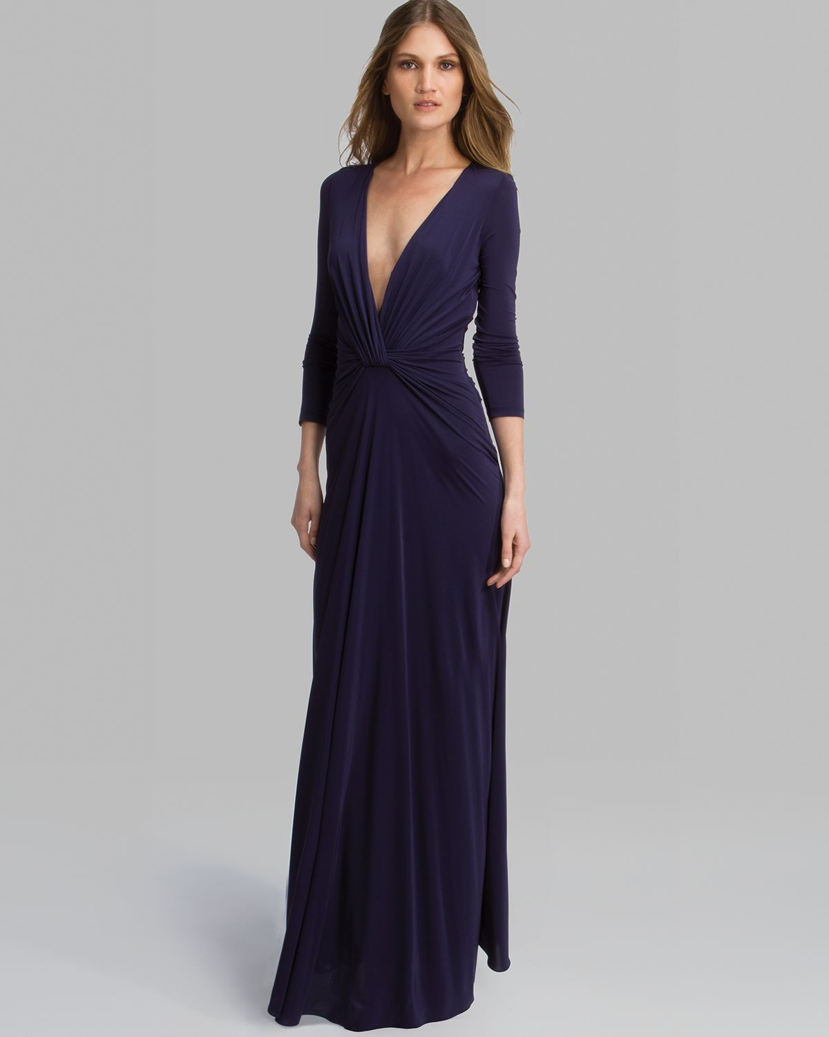 Lyst - Halston Gown Three Quarter Sleeve V Neck Jersey in Blue