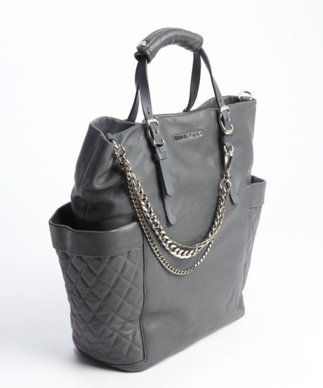 Jimmy Choo Smoke Grey Leather And Chain Blare Tote In