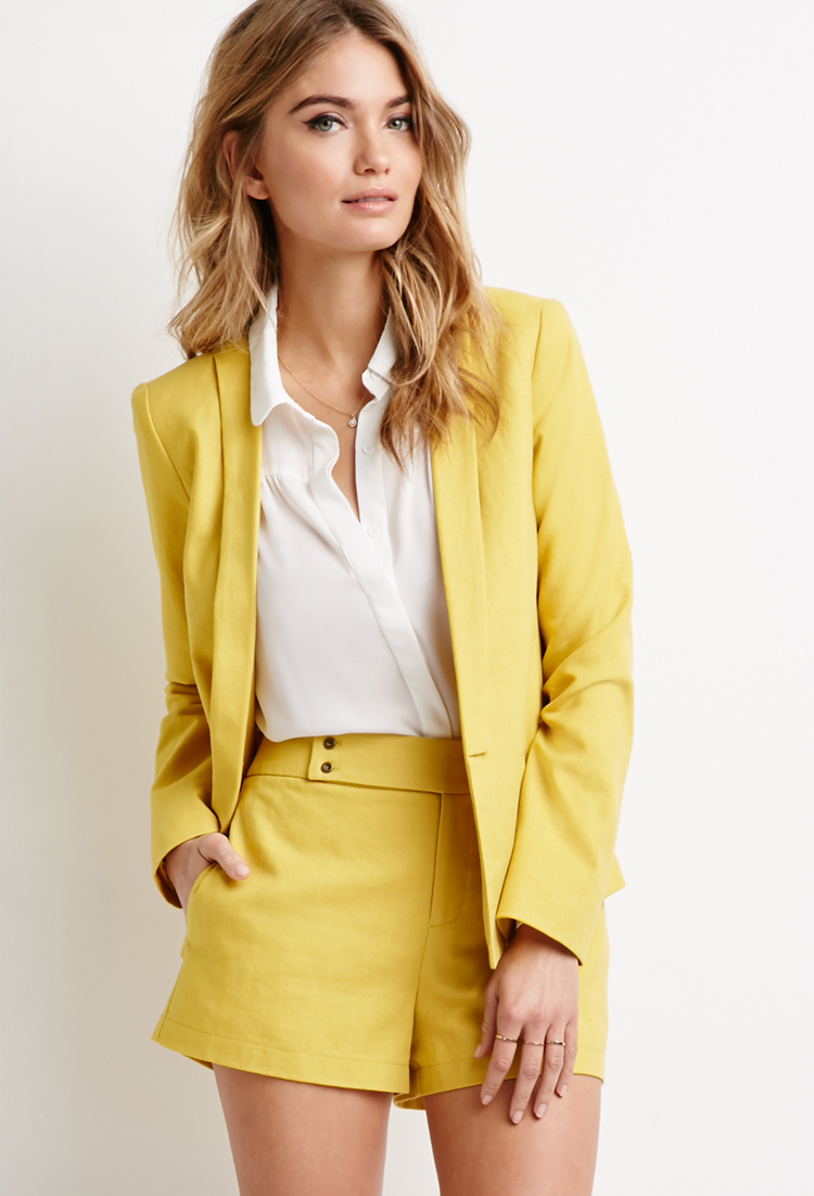Forever 21 Contemporary Linen-blend Shawl Collar Blazer In Yellow | Lyst