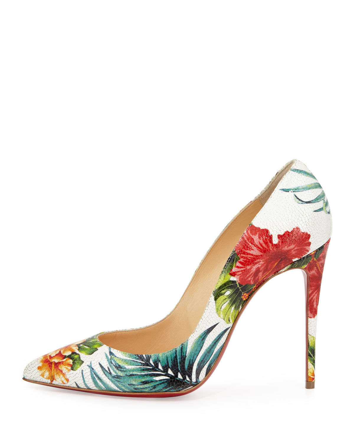 Christian Louboutin Pigalle Follies Hawaii Pumps In White