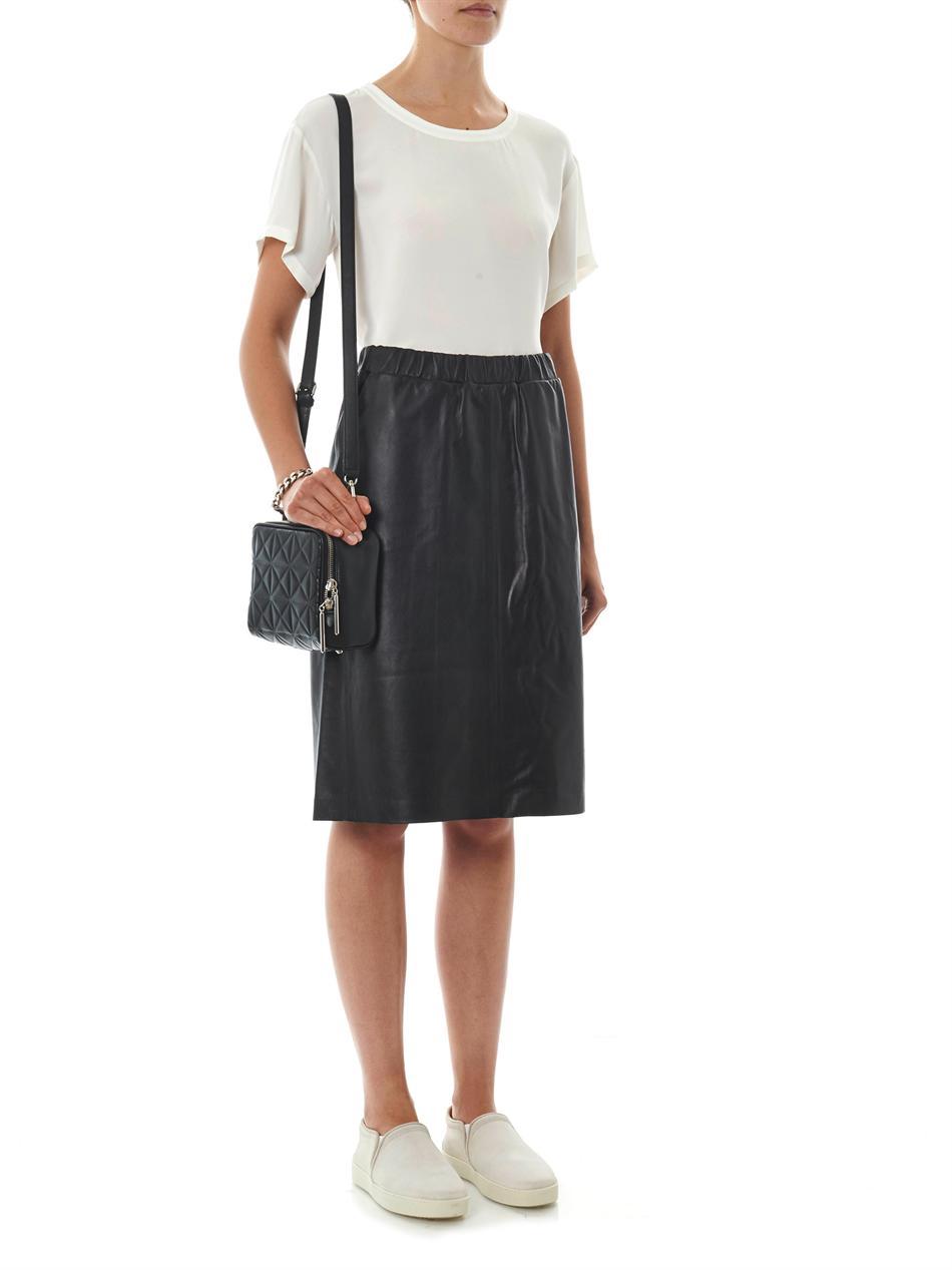 theory teeka leather pencil skirt in black lyst